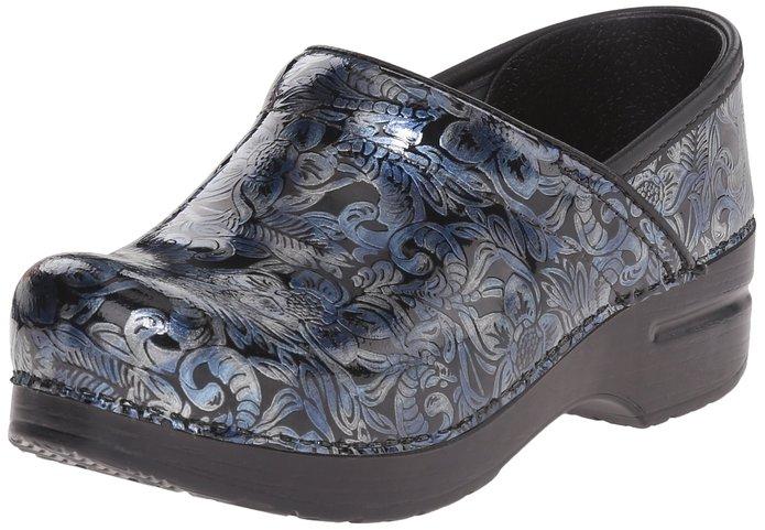 Dansko Women's Prof Silver/blue Tooled Mule