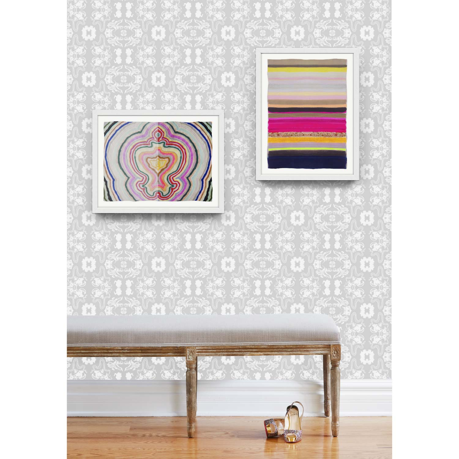 NEUTRAL COLOR + BOLD GRAPHICS - WHY NOT LIVE IN A DREAM WORLD WALLPAPER IN SILVERBEAUTY INSIDE #2 PRINTSTRIPES 35 PRINT