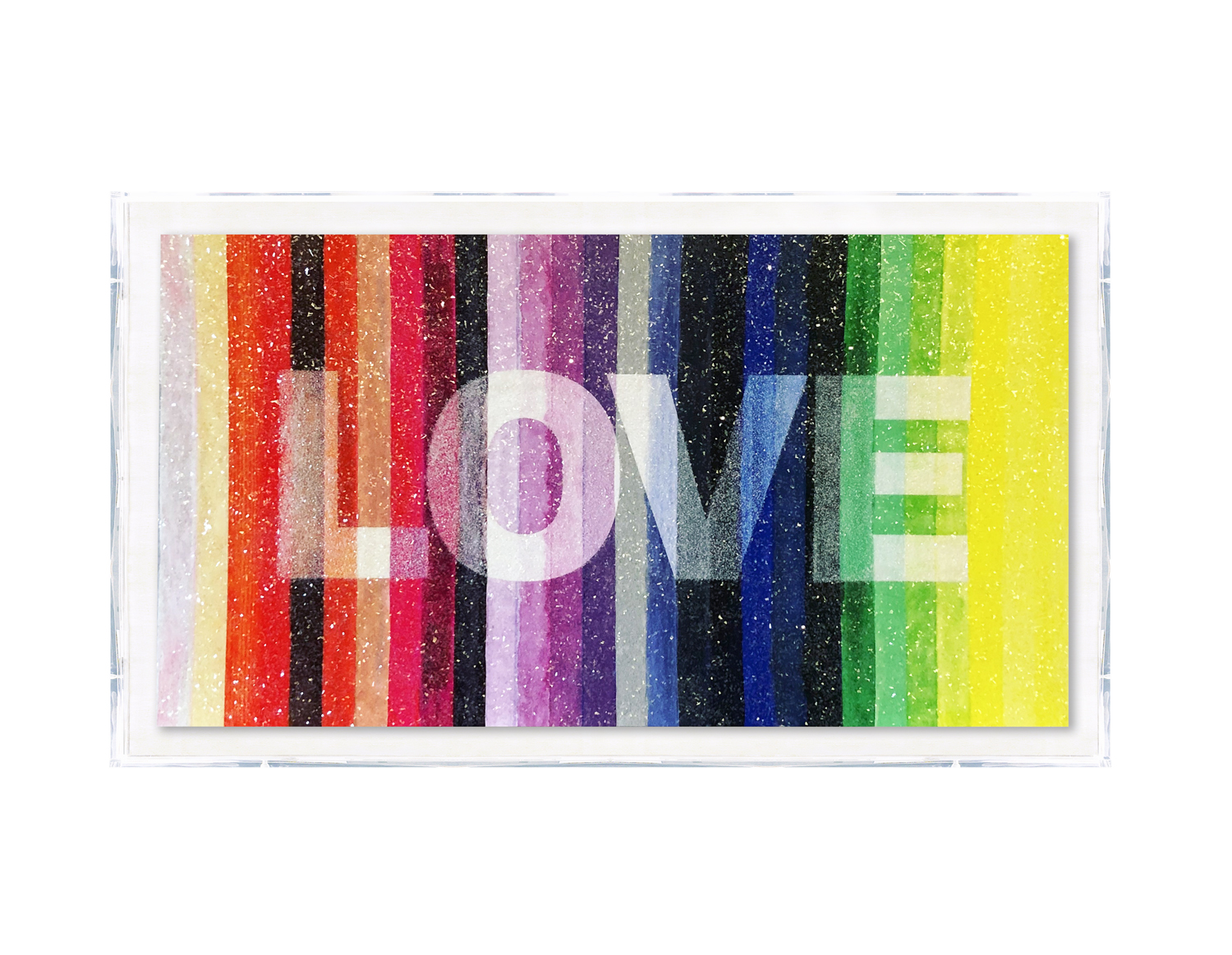 """LOVE,"" LIMITED EDITION EMBELLISHED METAL PRINT WITH GLASS CRYSTALS."