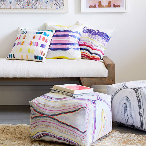Casual seating, bold patterns - SHOP POUFS