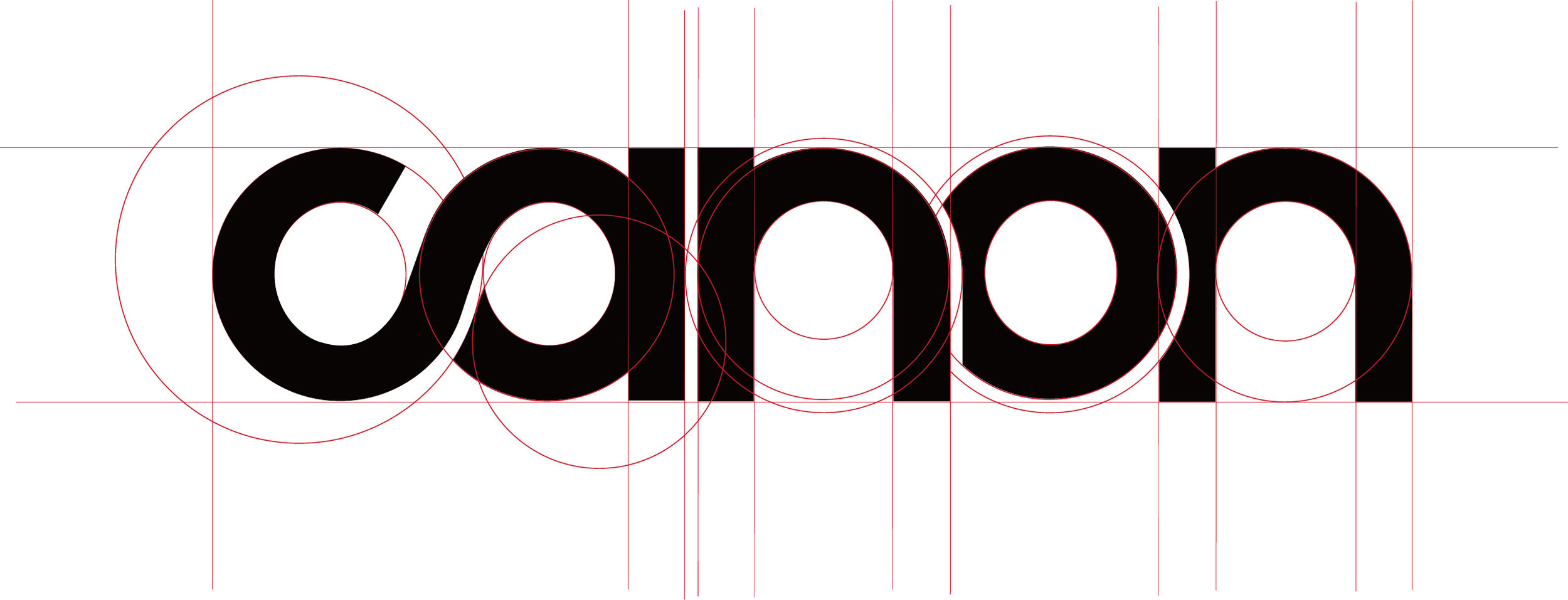 The new logo use an infinity symbol on the letter C and letter A with an open gap meaning that Canon wants to break the boundary of creativity and innovation. Following shows the guiding structure of the logo.