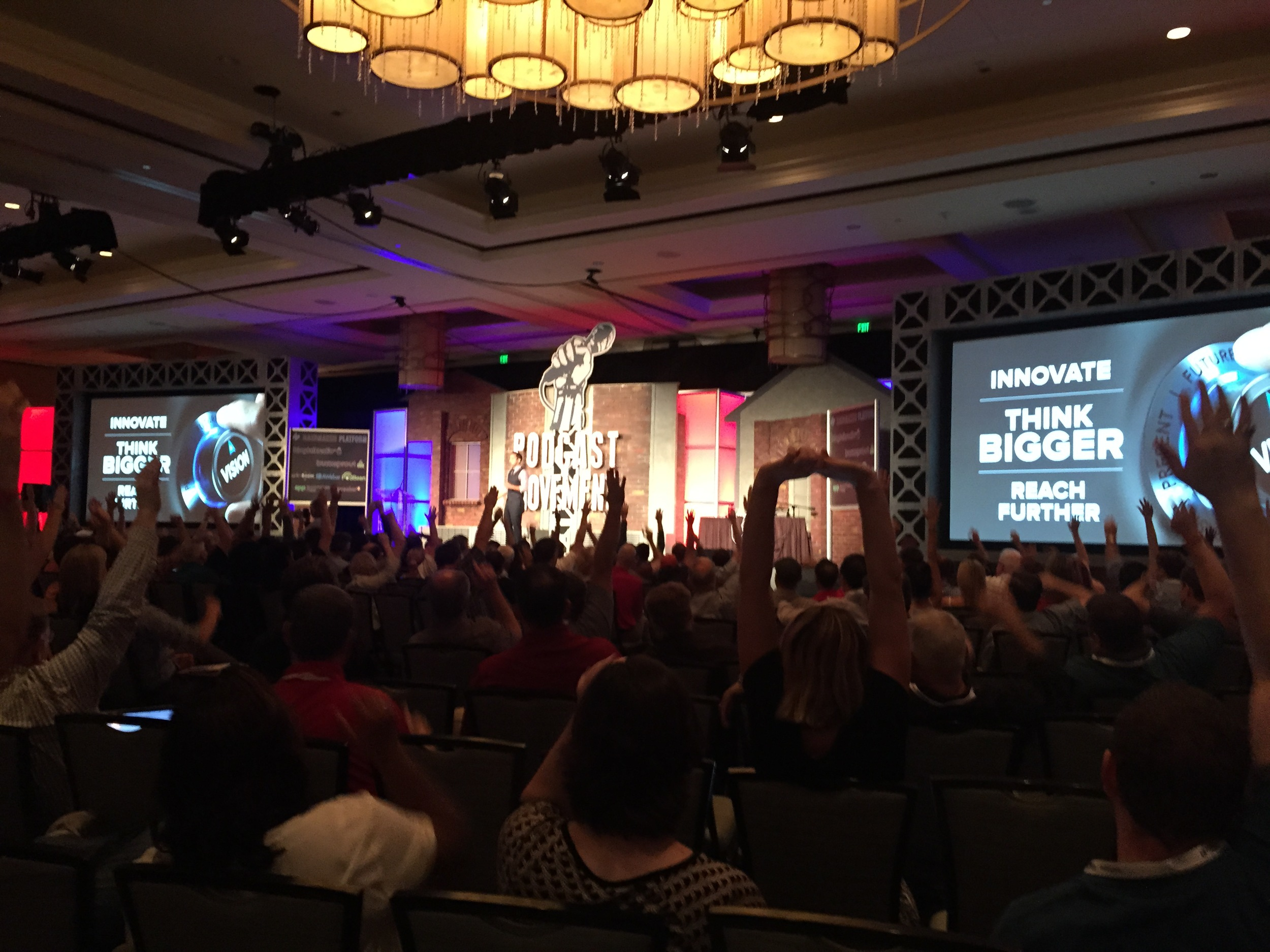 Motivational speaker and top podcaster Pat Flynn in front of 1,000 attendees.