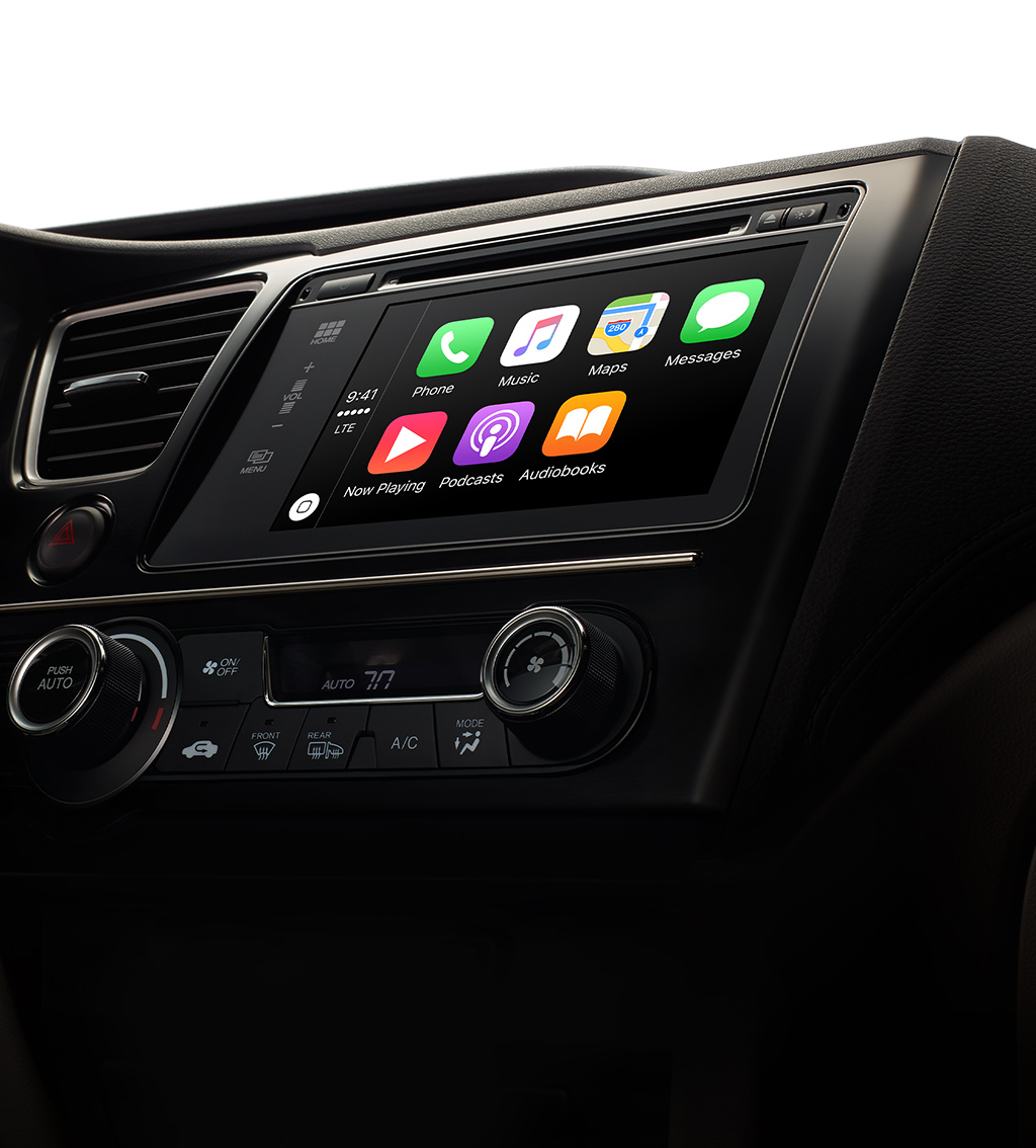 Note the podcast app built into Apple CarPlay