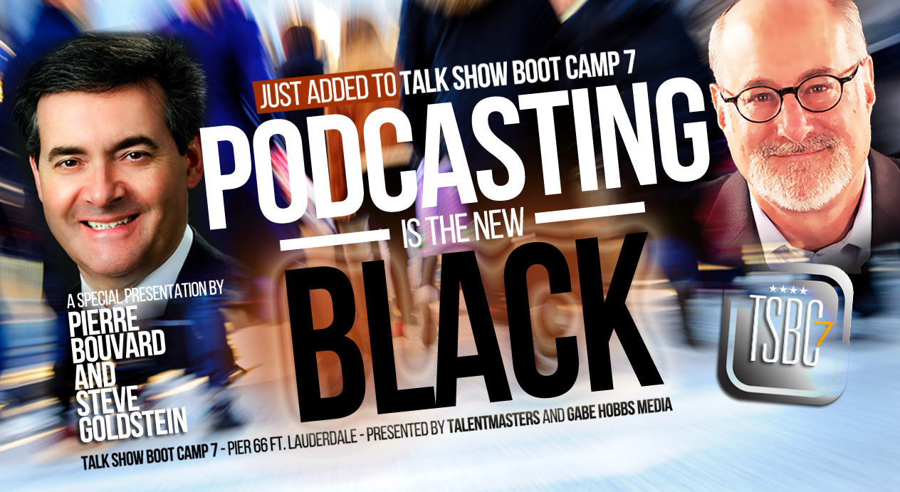 Pierre Bouvard and I are honored to be added to the roster and will have fresh data on podcasting at the upcoming Talk Show Bootcamp put on by Don Anthony and Gabe Hobbs.