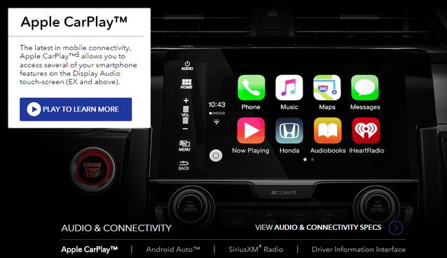 Apple CarPlay featured on Honda site
