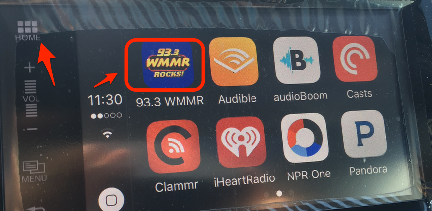 """""""Home"""" button takes you back out of CarPlay. The WMMR app."""