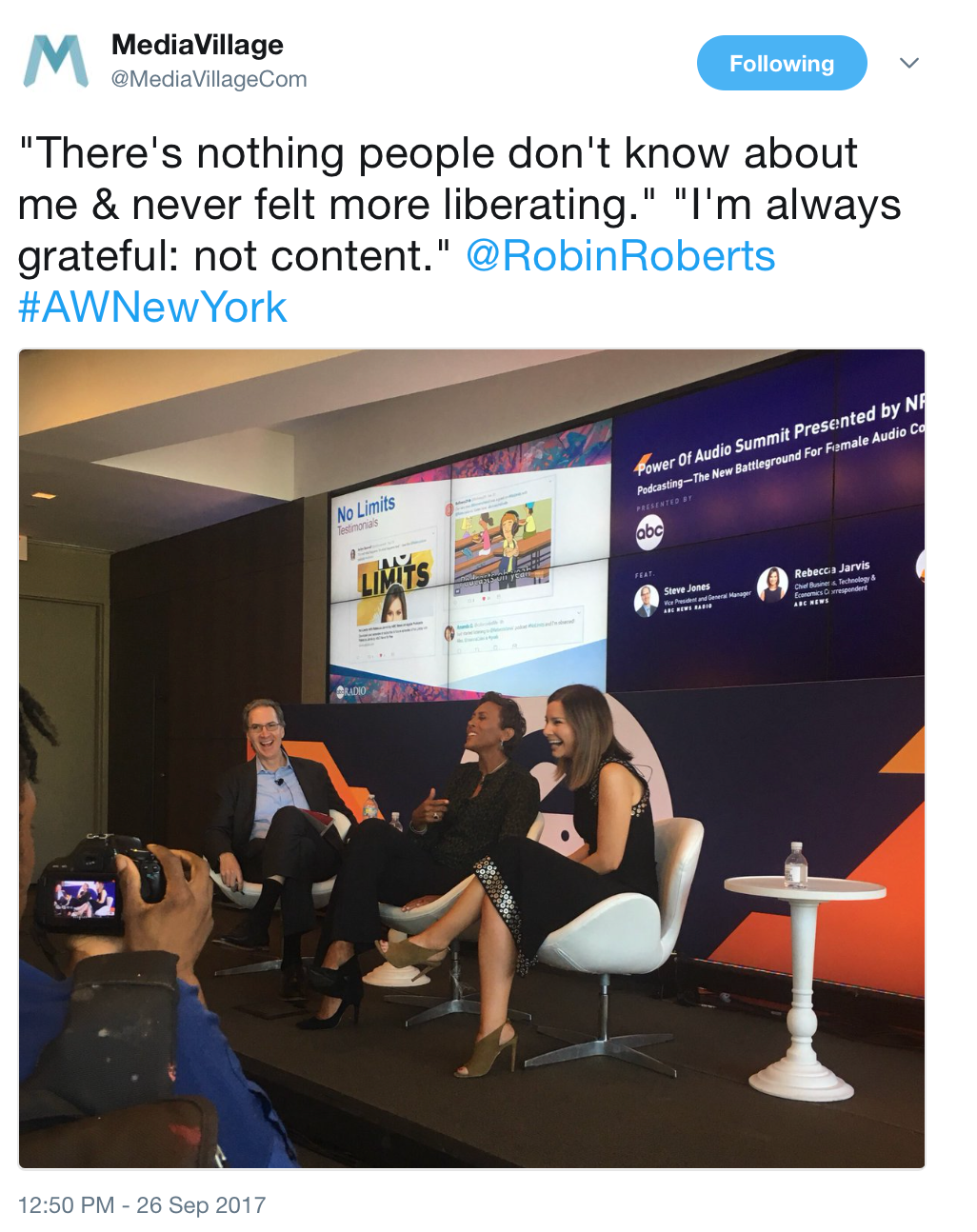 """Steve Jones, VP General Manager ABC News Radio, Robin Roberts, GMA +host of """"Everybody's Got Something"""" podcast,Rebecca Jarvis, Chief Business Correspondent + host """"No Limits"""" podcast"""