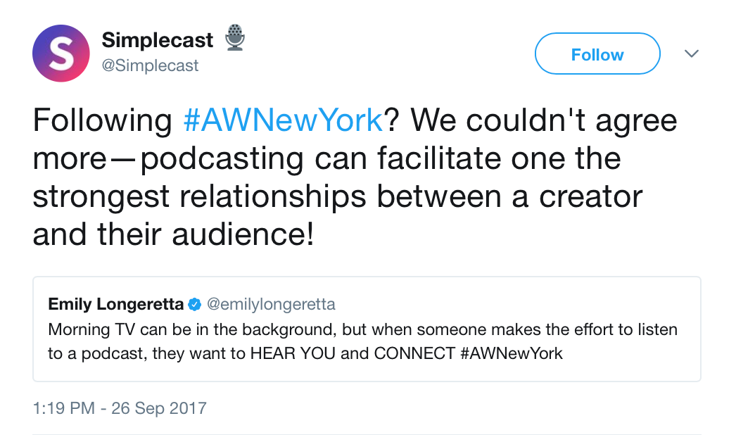 Simplecast_🎙_on_Twitter___Following__AWNewYork__We_couldn_t_agree_more—podcasting_can_facilitate_one_the_strongest_relationships_between_a_creator_and_their_audience__https___t_co_YM3cd2AHI5_.png