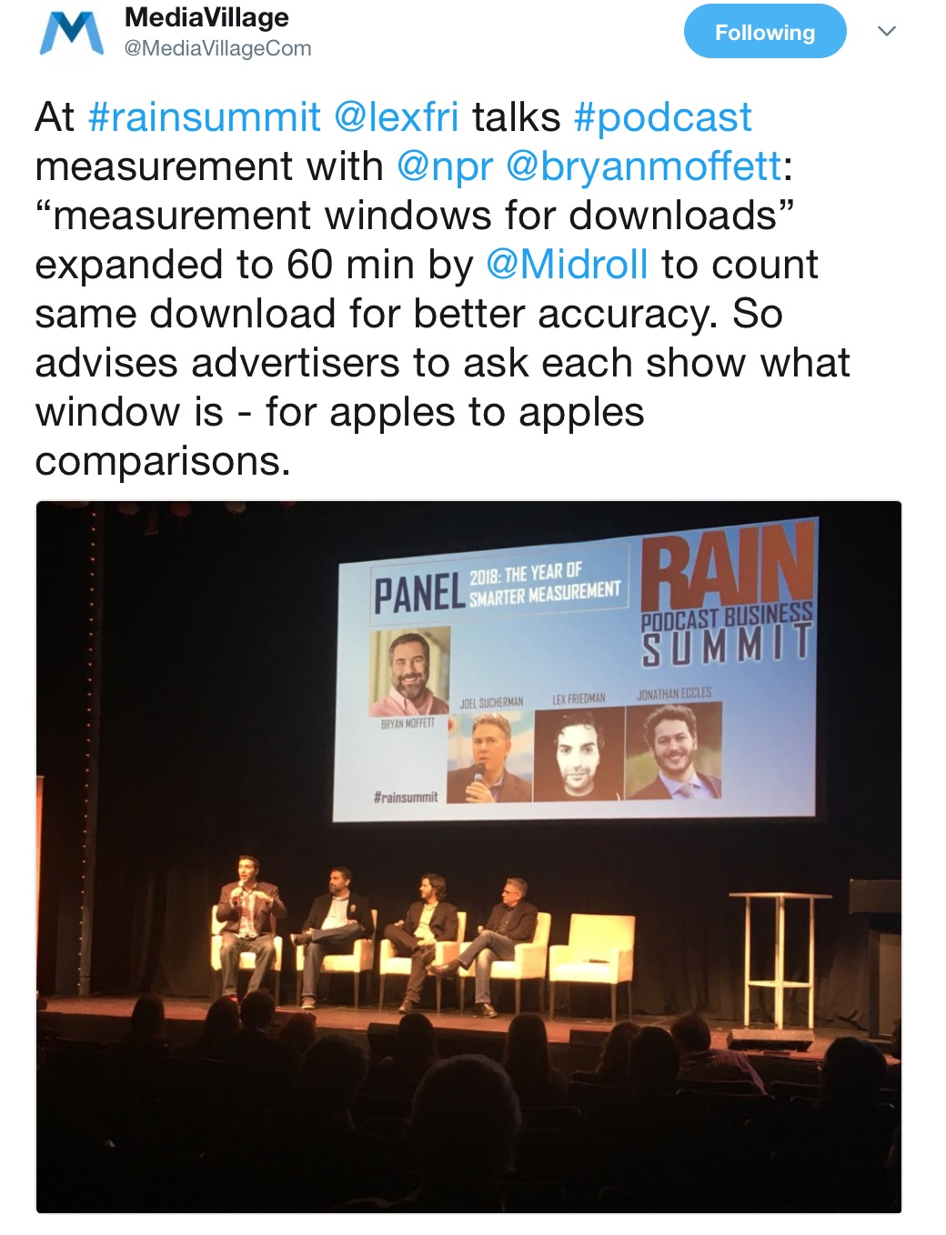 """MediaVillage_on_Twitter___At__rainsummit__lexfri_talks__podcast_measurement_with__npr__bryanmoffett__""""measurement_windows_for_downloads""""_expanded_to_60_min_by__Midroll_to_count_same_download_for_better_accuracy__So_advises_advertisers_to_as.jpg"""