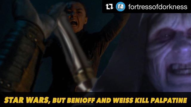 "Don't ask, just enjoy this silly little thing over at The Fort on YouTube. #allingoodfun #wepromise #Repost @fortressofdorkness ・・・ Enjoy this never-before-seen alternative ending by Benioff and Weiss of ""Return of the Jedi""! Check it out in our YouTube channel! #starwars #gameofthrones #got #gameofthronesseason8 #davidbenioff #dbweiss #arya #nightking #palpatine #lukeskywalker #darthvader #aryakillsthenightking #thelongnight #returnofthejedi #rotj #parody #alternateending #producer #writer #director #fortressofdorkness"