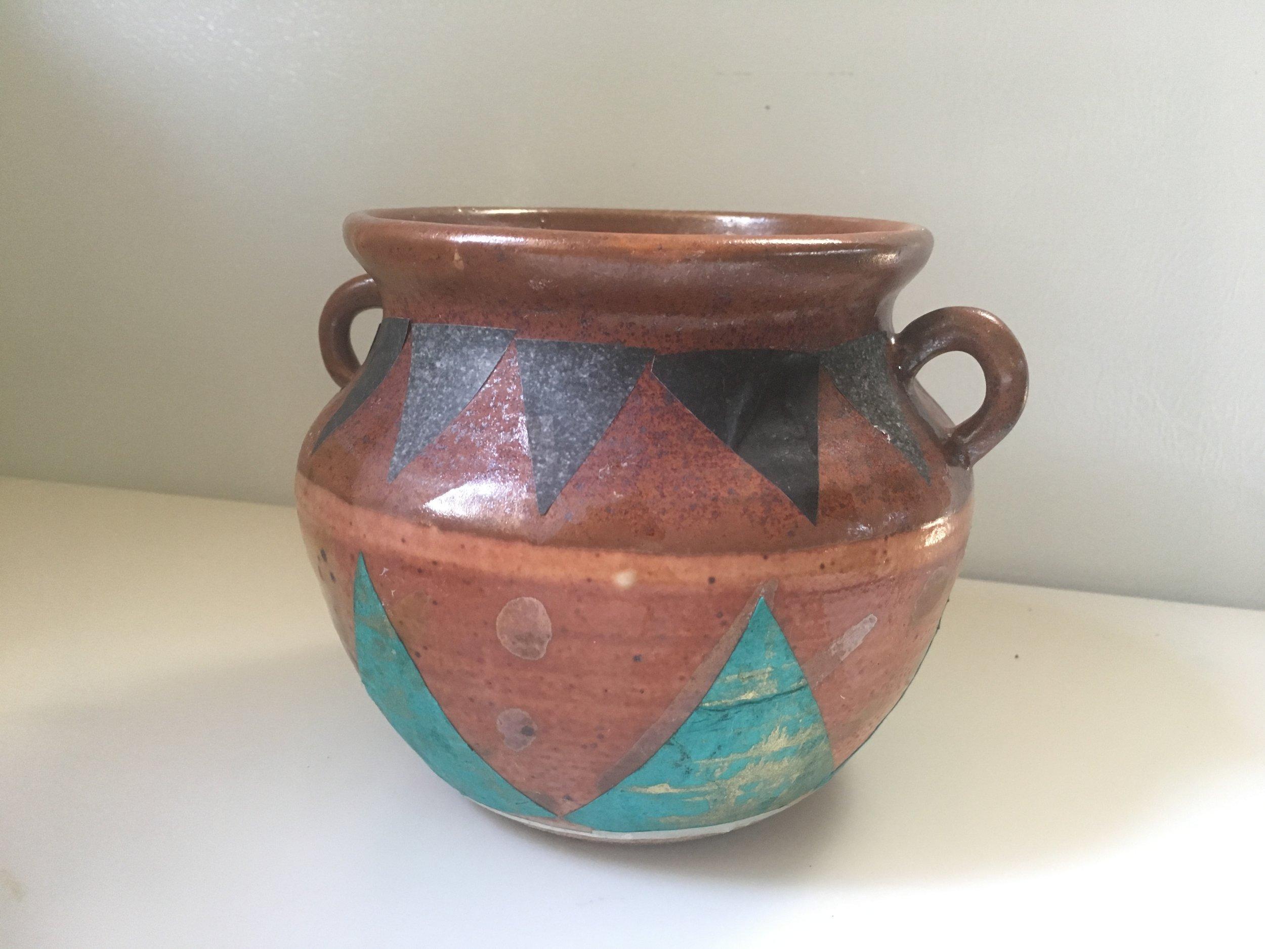 2 handle turq brown pot.JPG