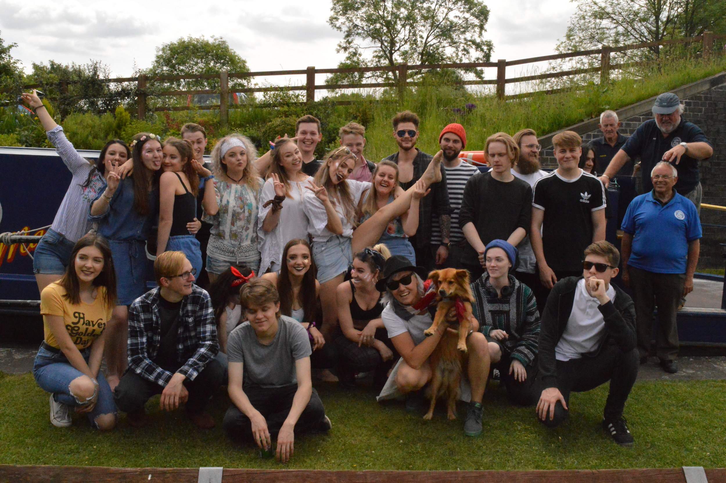 Full cast after filming at The Chesterfield Canal