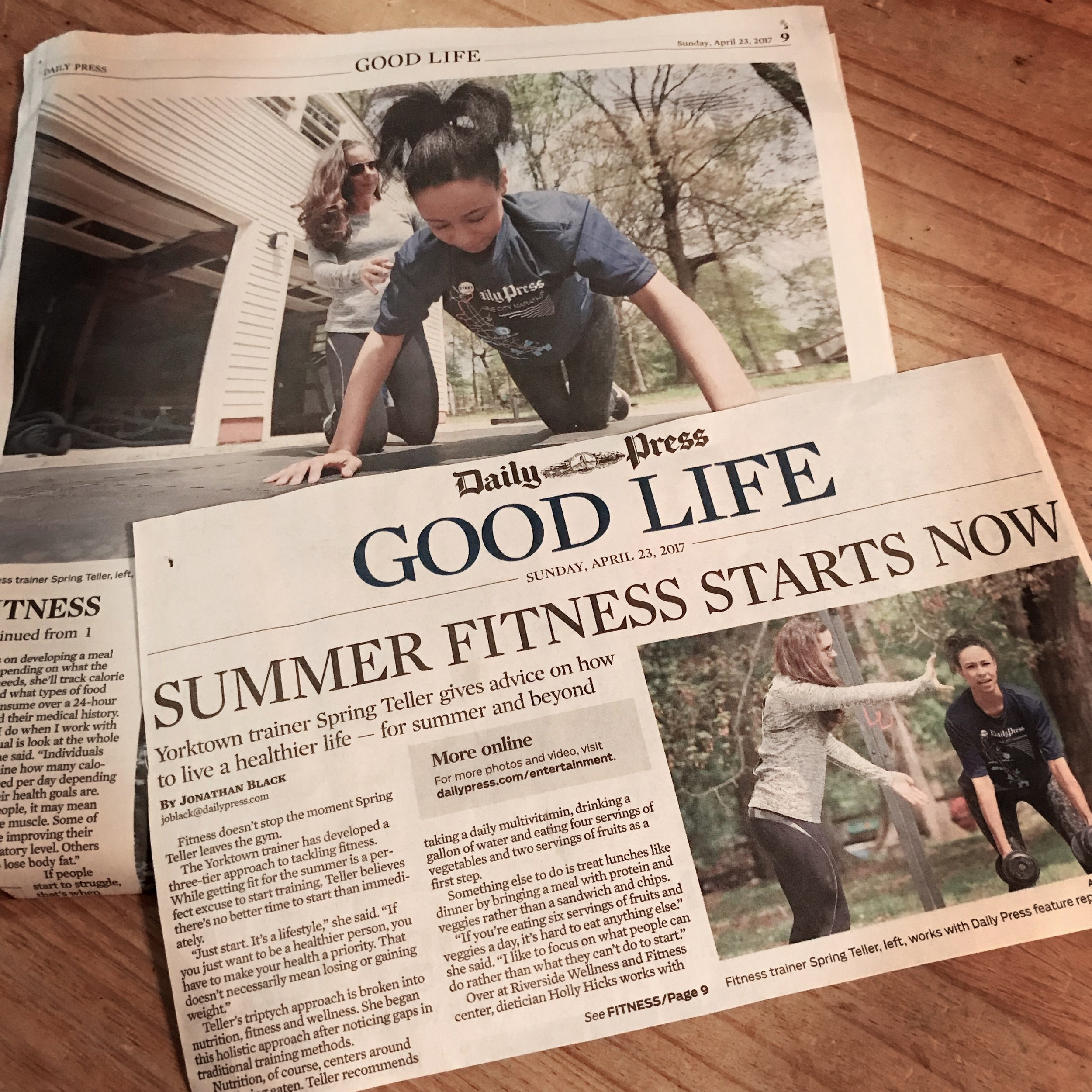 The Daily Press featured Spring's summer shape up tips. -