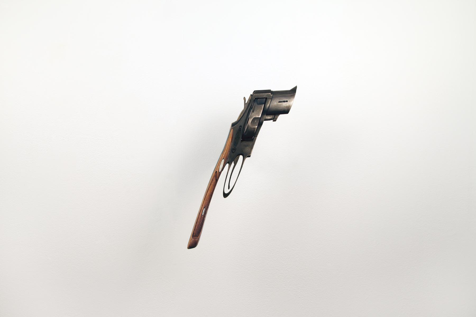 gun  (v), 2008 steel, walnut 10 1/2 x 6 1/2 x 3 inches
