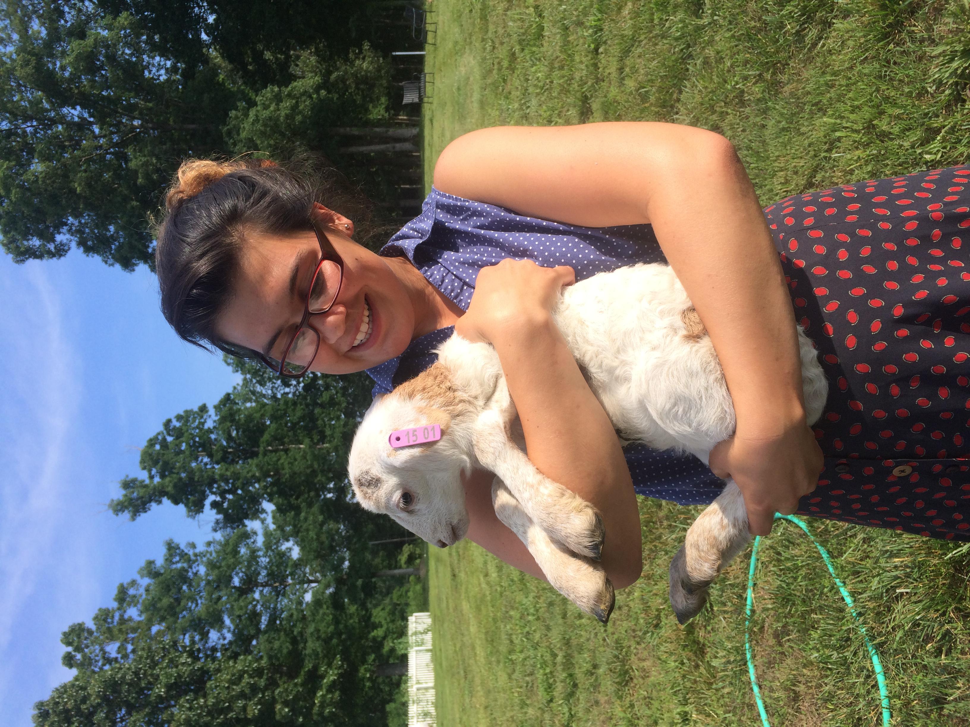 Megan and a baby lamb