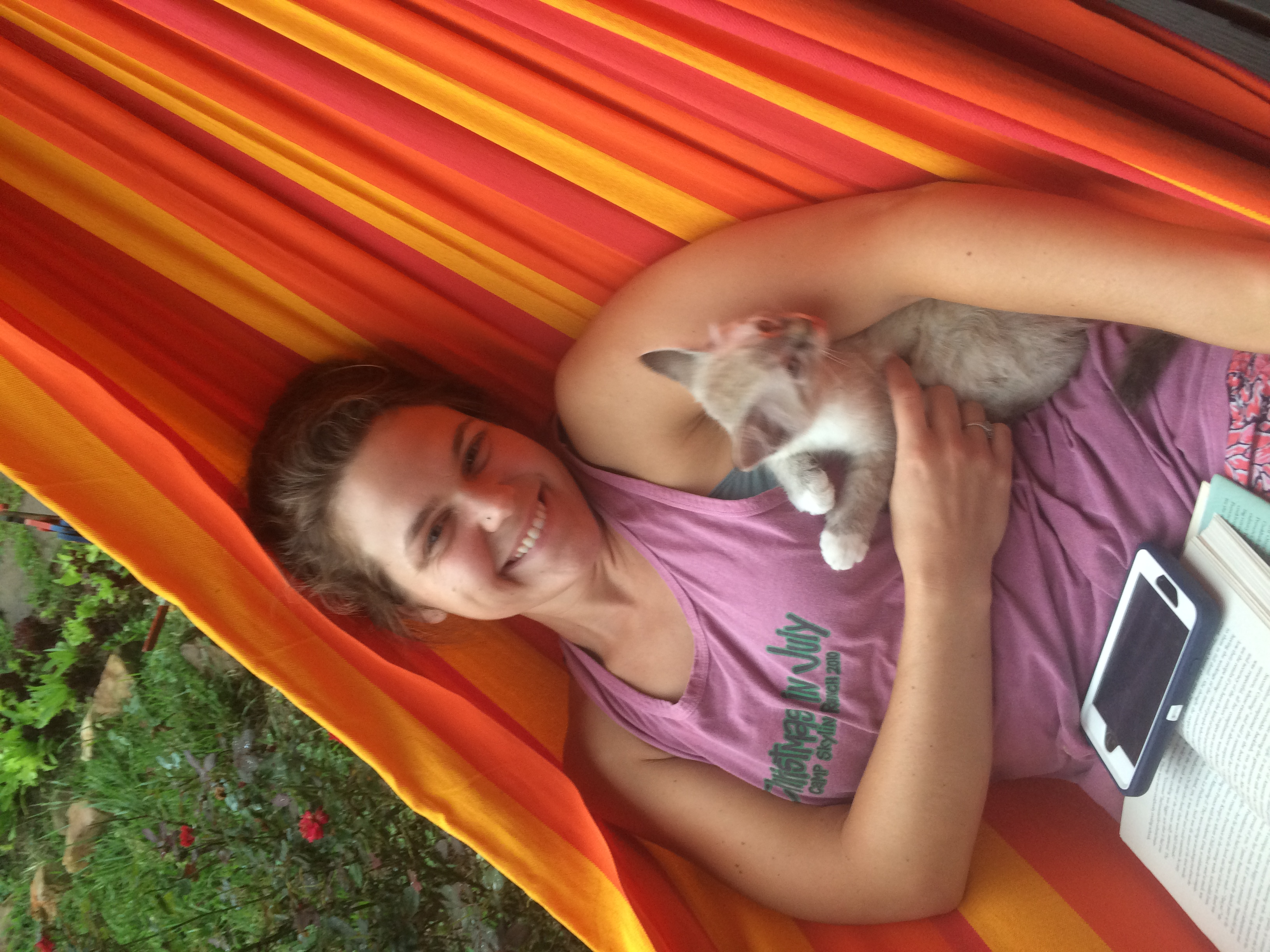 Sarah and her new BFF the kitty