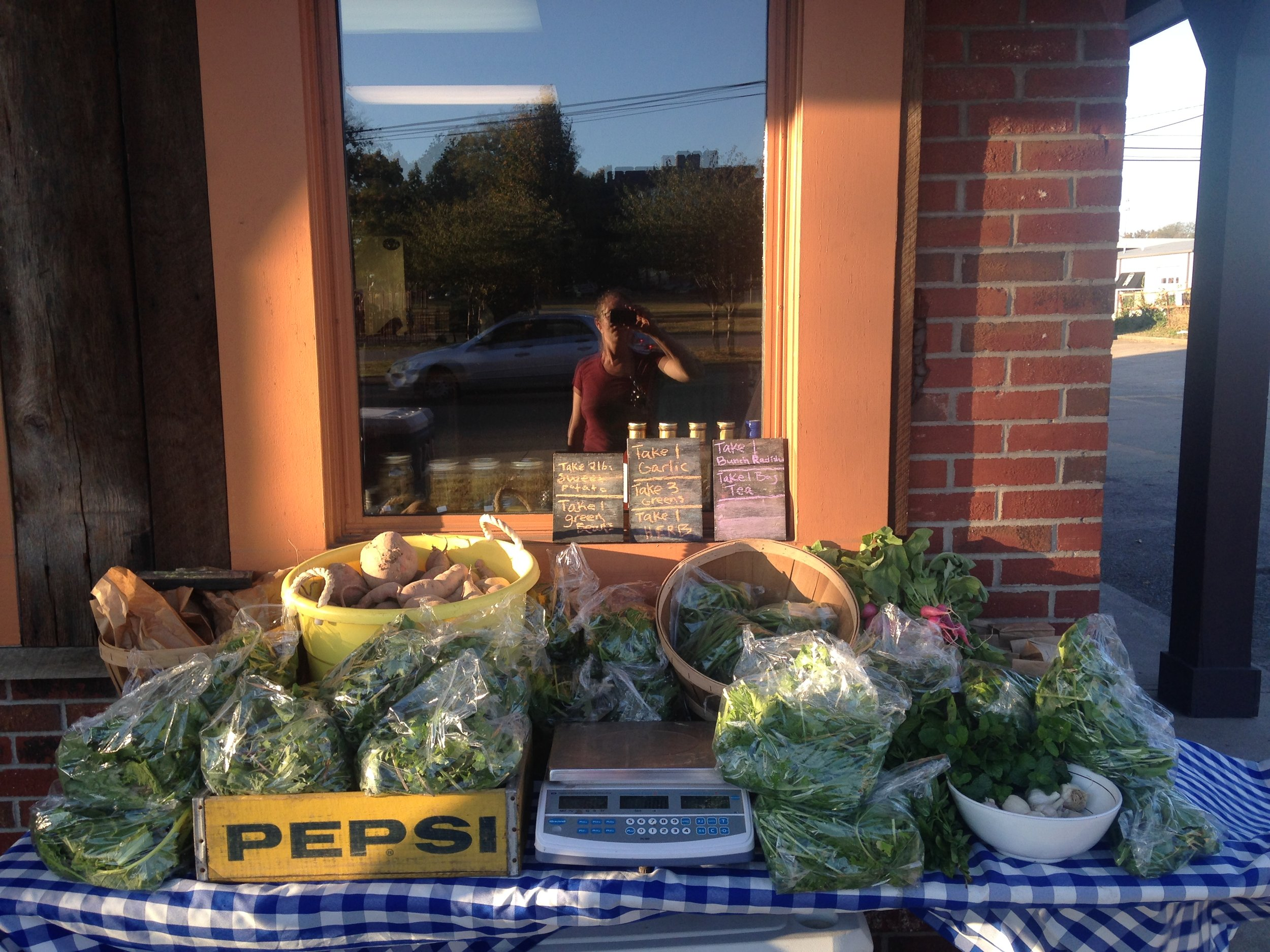 Porter Road Butcher CSA pick up table!