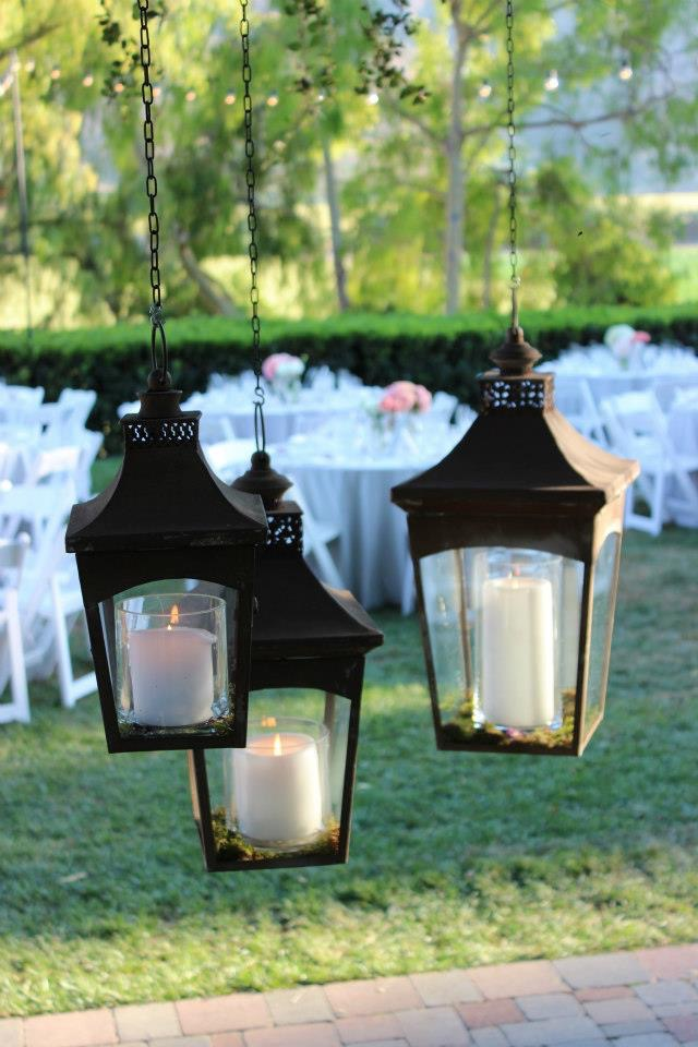 METAL/GLASS HANGING LANTERNS (3) - $40
