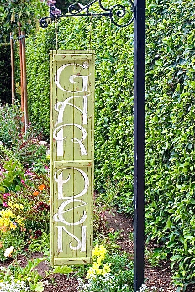 "GREEN WOODEN ""GARDEN"" SIGN - $25"