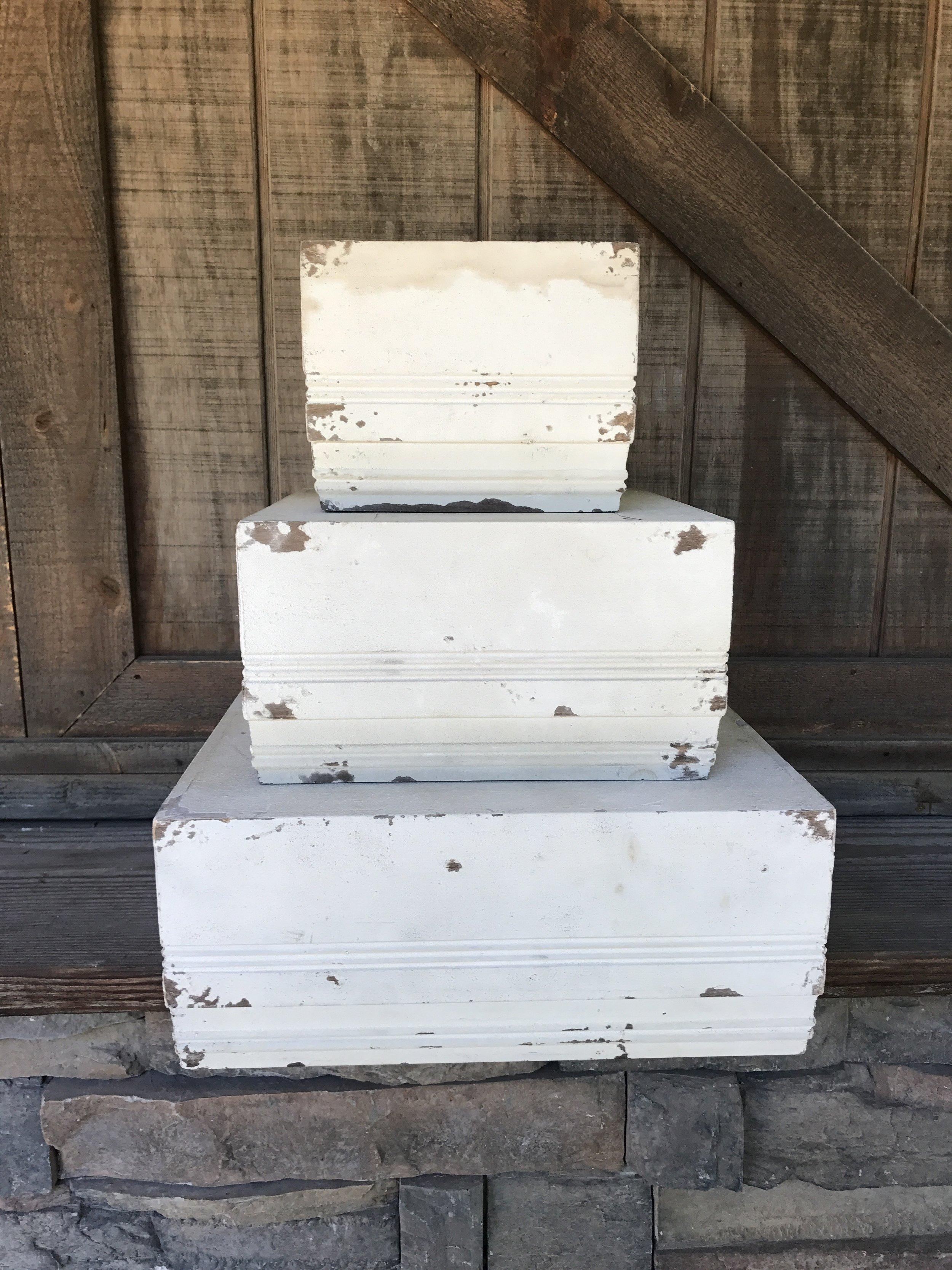SQUARE WHITE STACKING BOXES - $30