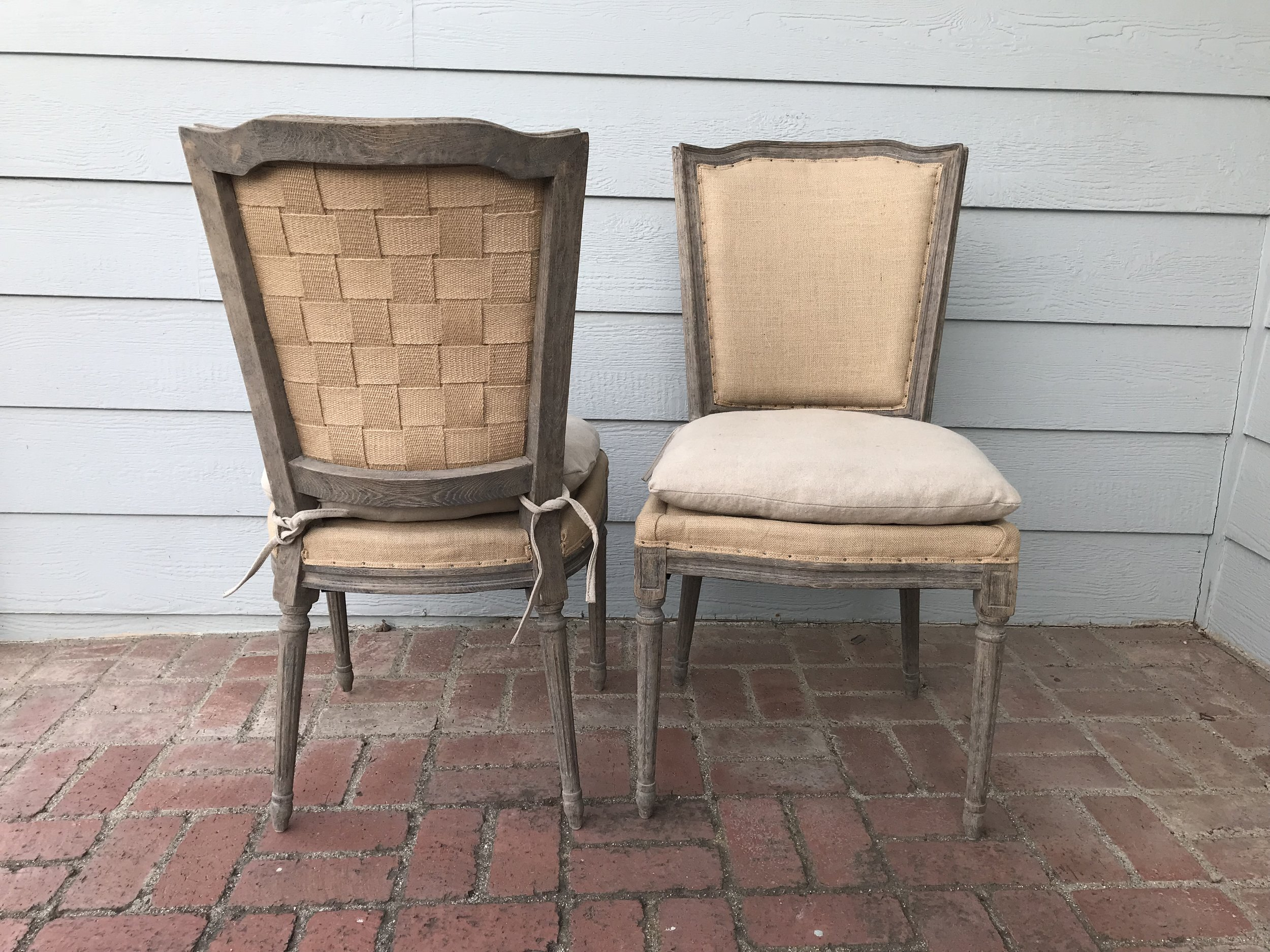 BURLAP BRIDE AND GROOM CHAIRS (2) - $70