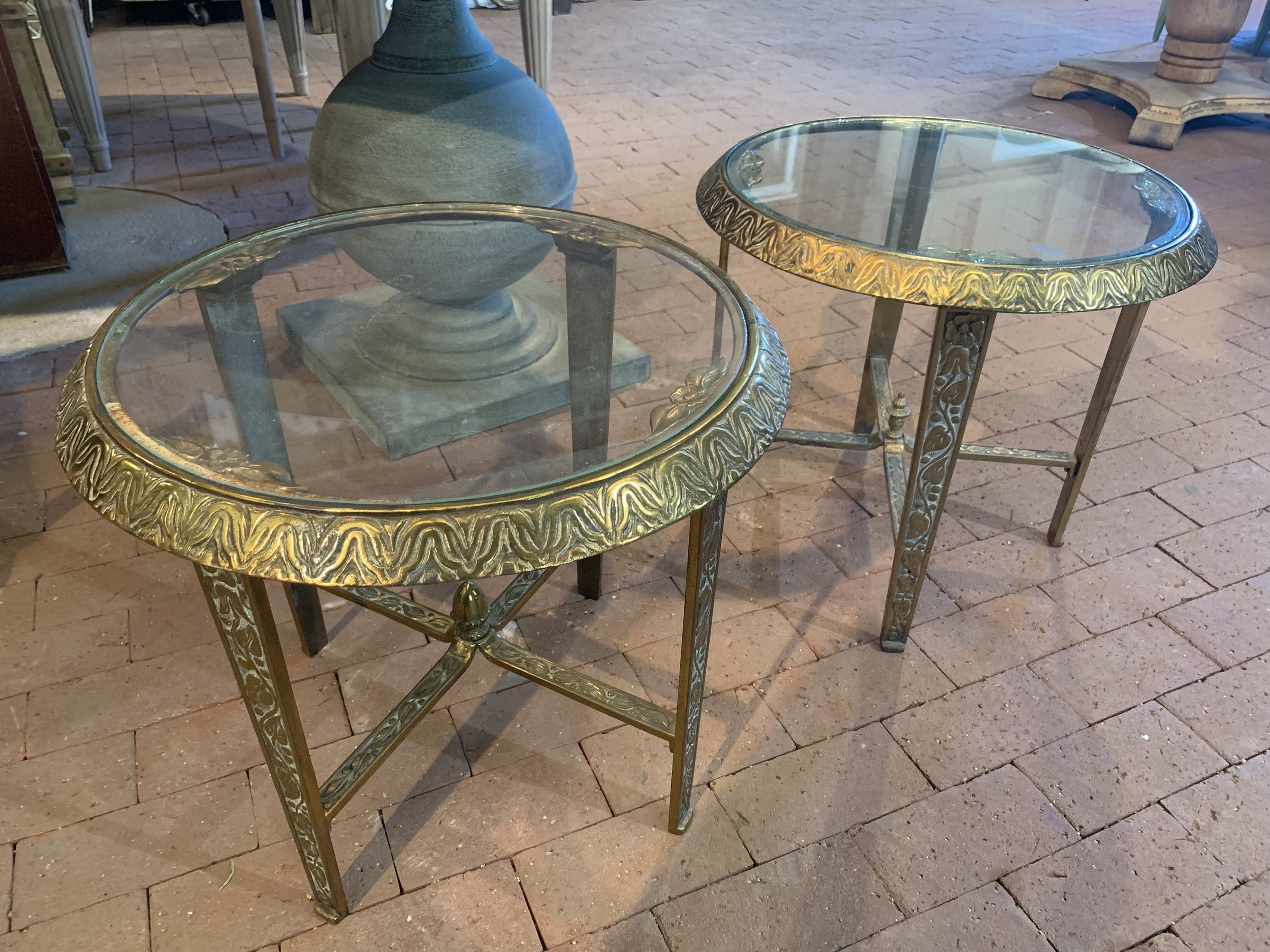 ROUND BRONZE ACCENT TABLE (set of 2) - $55