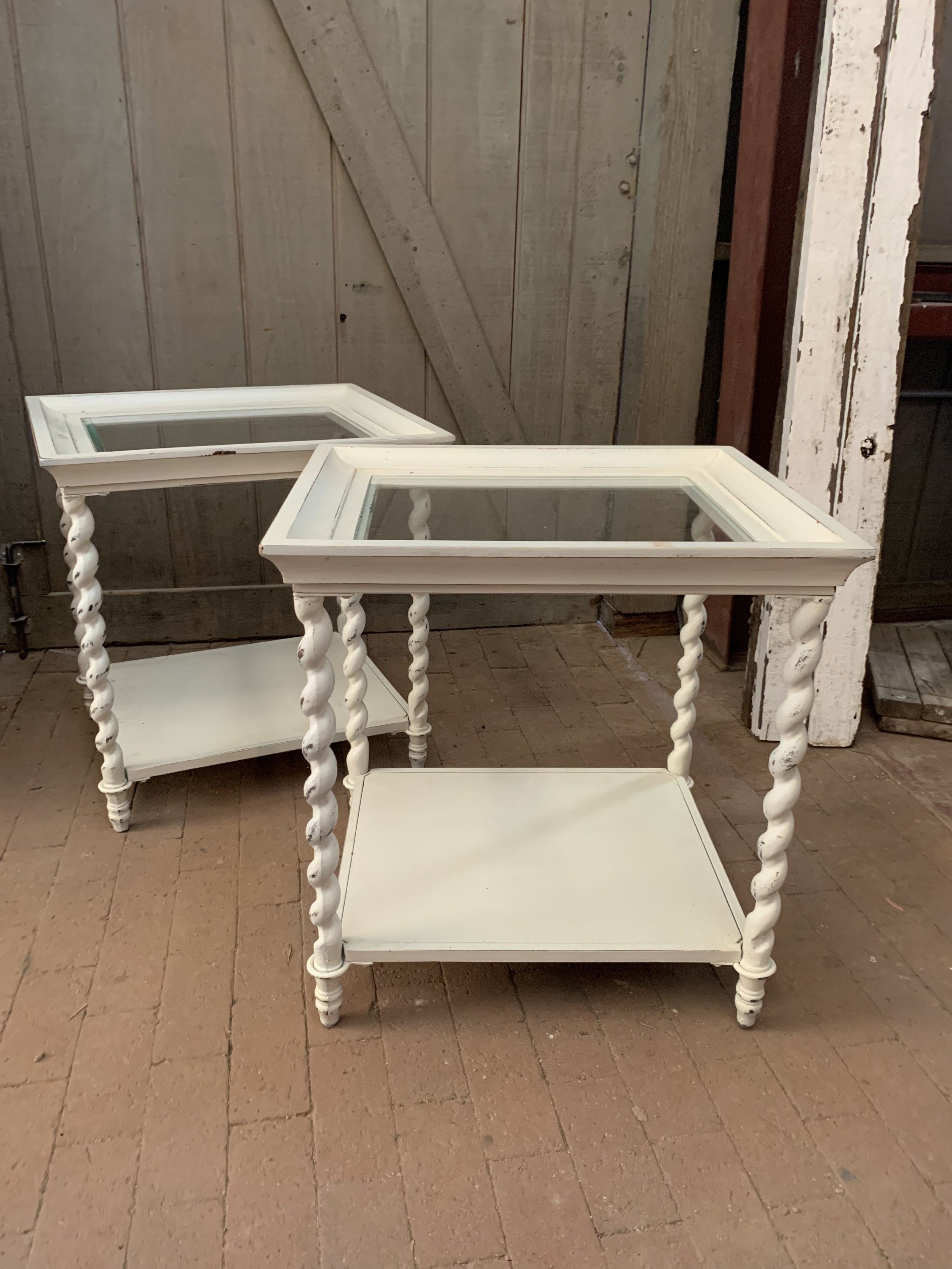 SQUARE WHITE ACCENT TABLES WITH TWISTED LEGS (set of 2) - $65