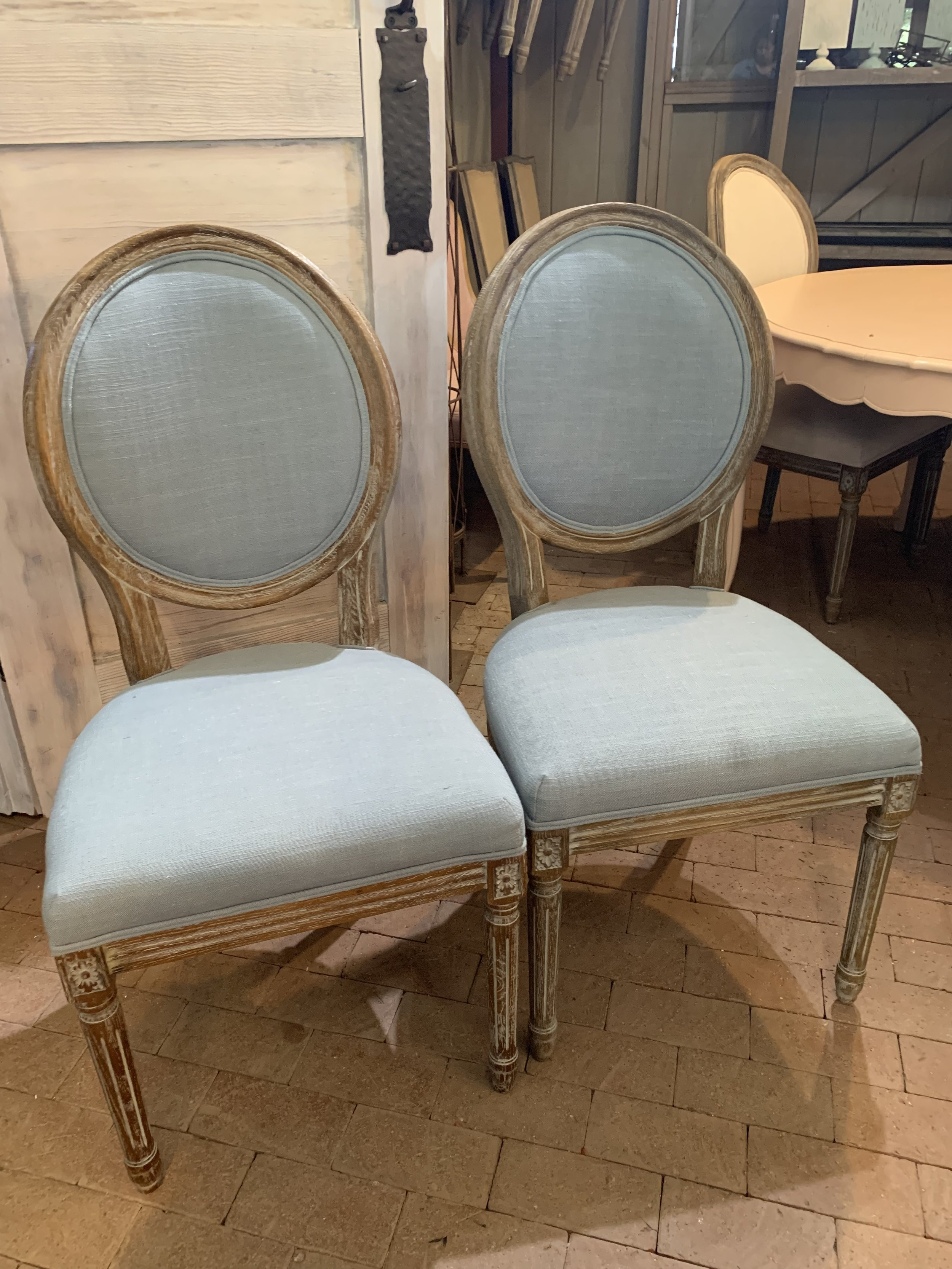 LIGHT BLUE BRIDE AND GROOM CHAIRS - $70