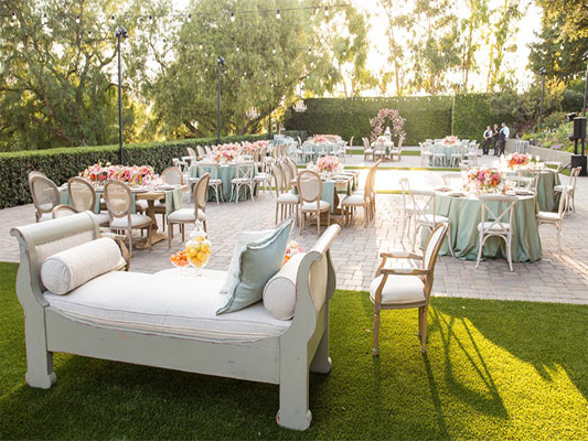 Outdoor seating at our wedding venue close to Malibu.