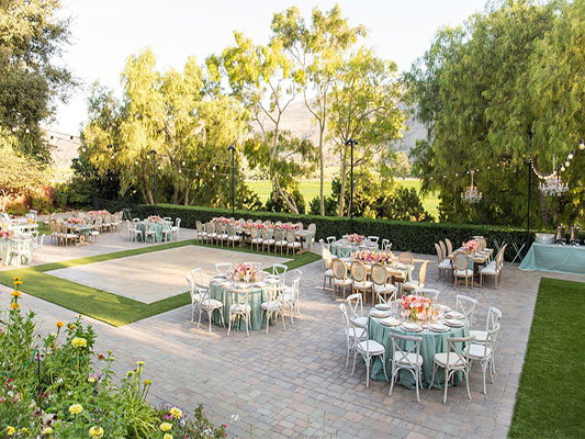 View of our outdoor wedding venue near Malibu at sunset.