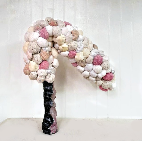 "Scrape  (2018) ceramics, nylon stockings, knitted blanket, towels, q-tips, rug mats, mop, sponges, silk slips,  bath loofahs, napkins, bath mats, balloons, packing peanuts, cotton balls, face pads, underwear, dye, micah powder, paint 18"" x 16"" x 10"""