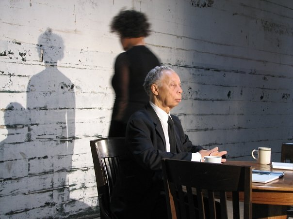 Carrie Mae Weems and Dr. Richard Long at Carrie's photo and video shoot for her 2008 exhibition,  Constructing History: A Requiem to Mark the Moment . Photo by Michael Moss.