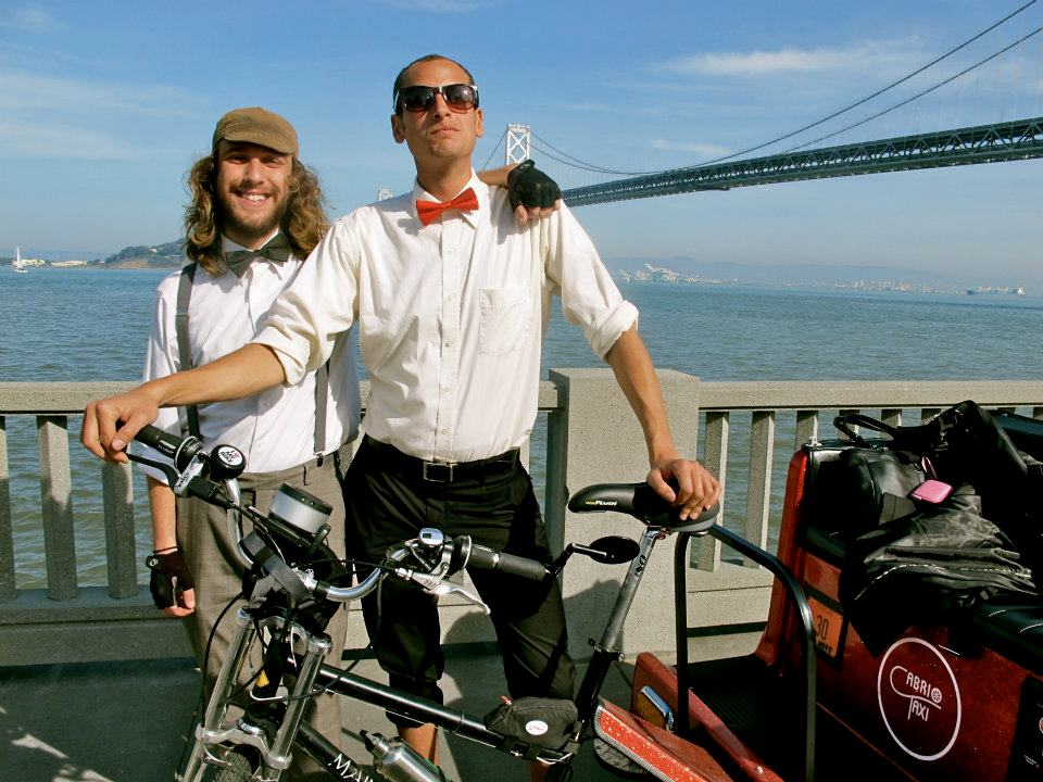 Two Happy Pedicab Operators