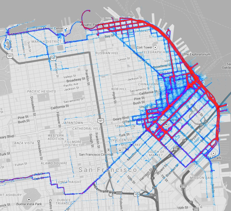 12K Pedicab Miles:a one year heatmap from one of our most consistent operators.
