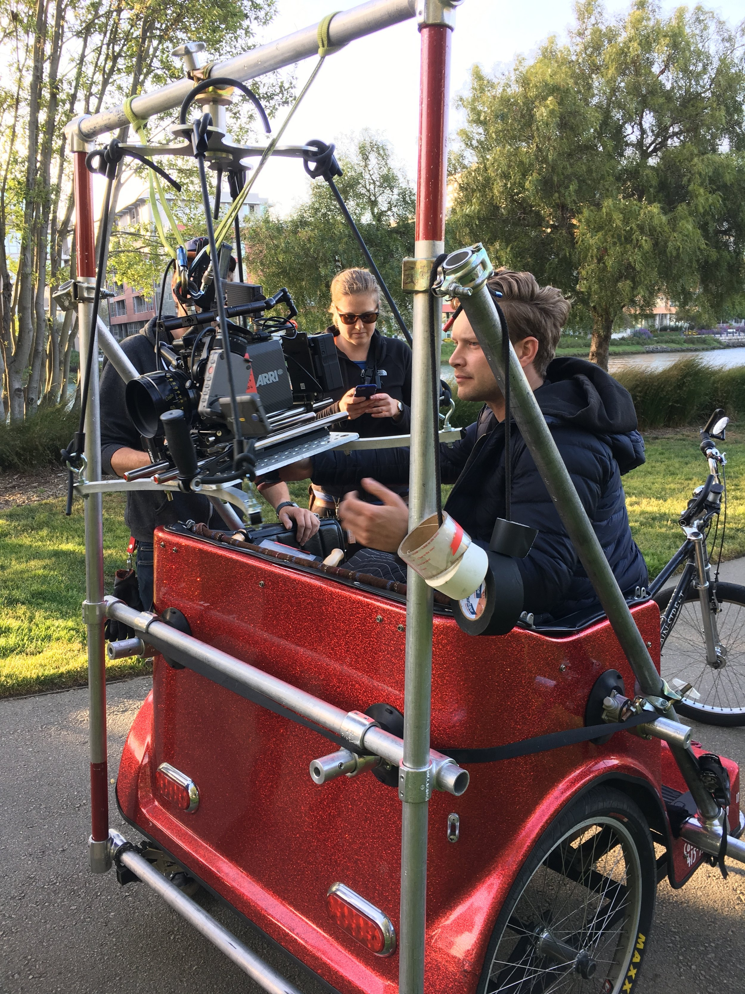 A camera-rigged pedicab in action, shooting a commercial in San Francisco's Mission Bay.