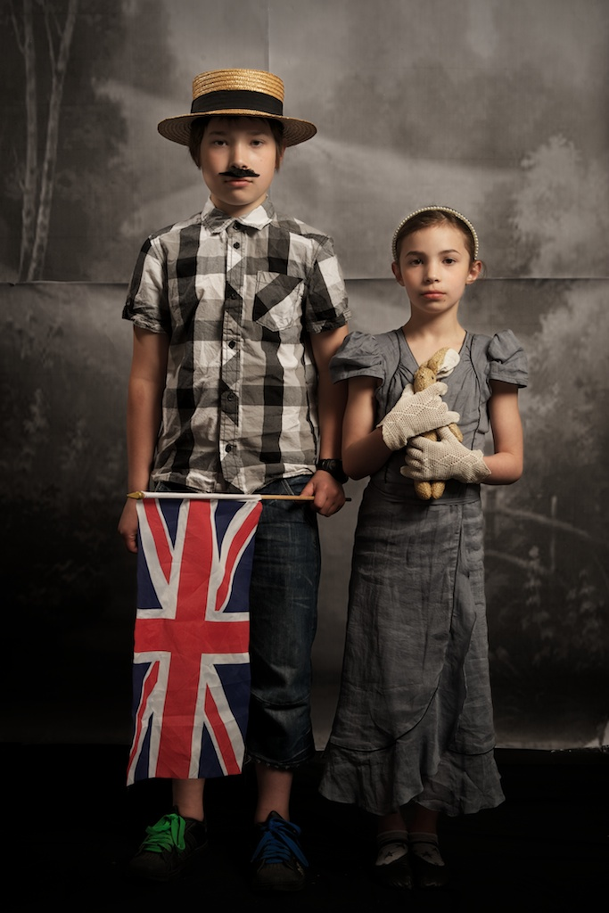 My East End Open Studio at Four Corners. George and his sister Scarlet of Hackney, pose in a recreated Edwardian studio, April 24 2010.