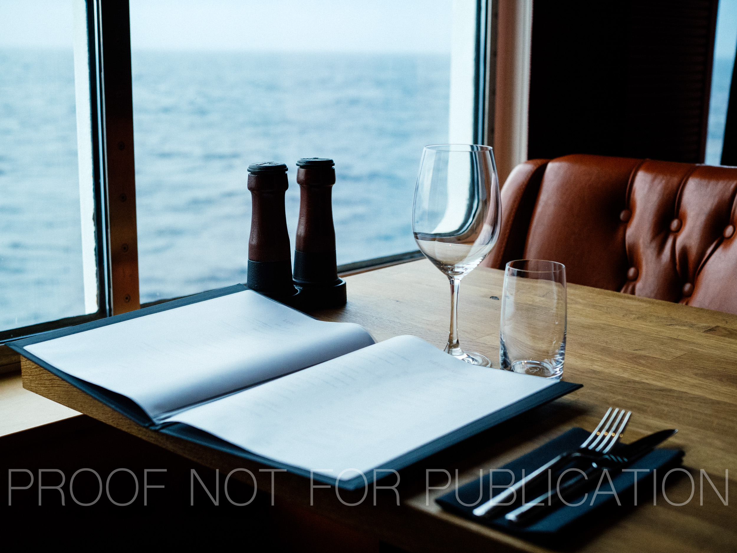 Place setting at dining room aboard the MS Norröna