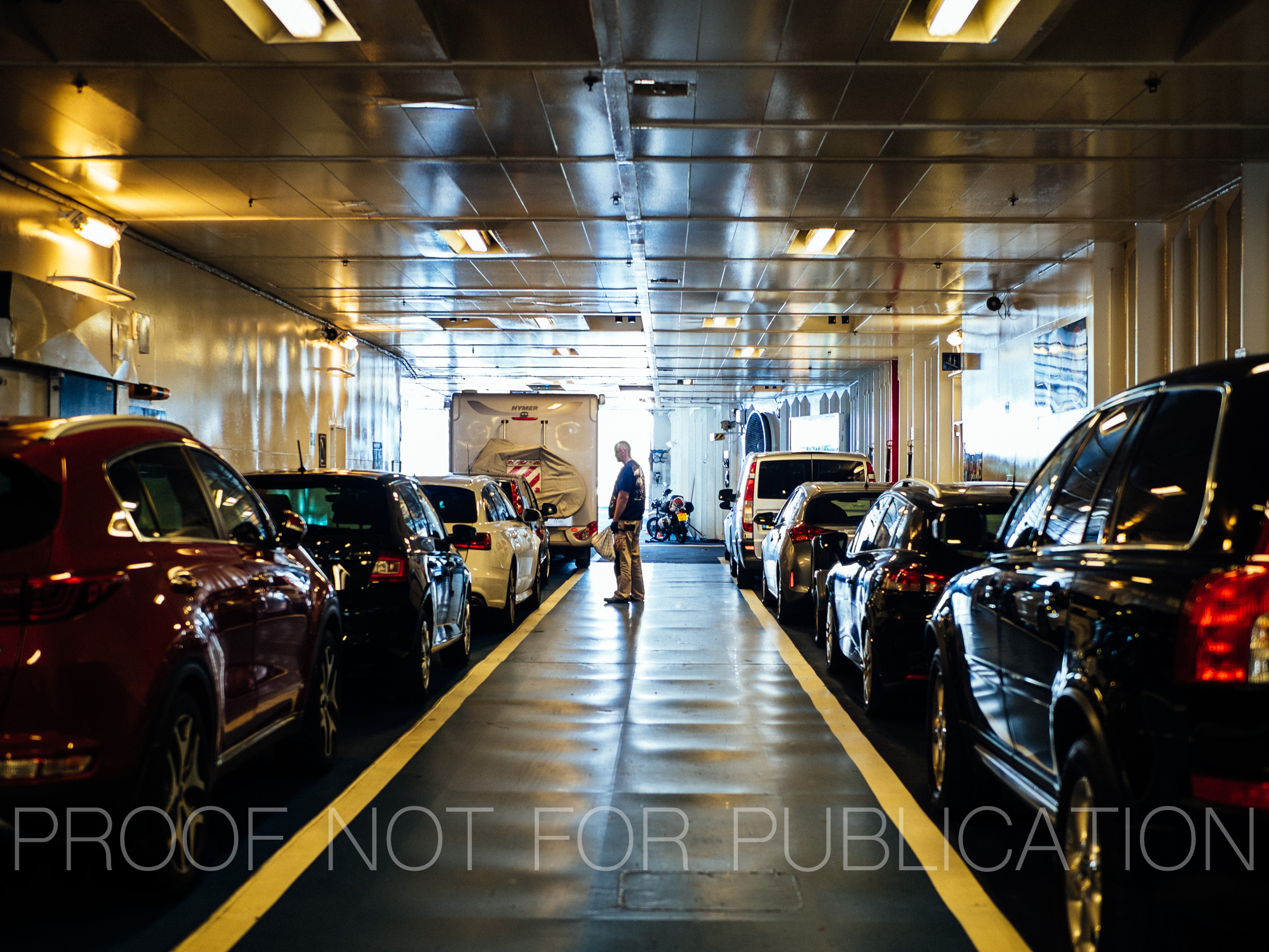 Ferry from Germany to Denmark, loading bay level.