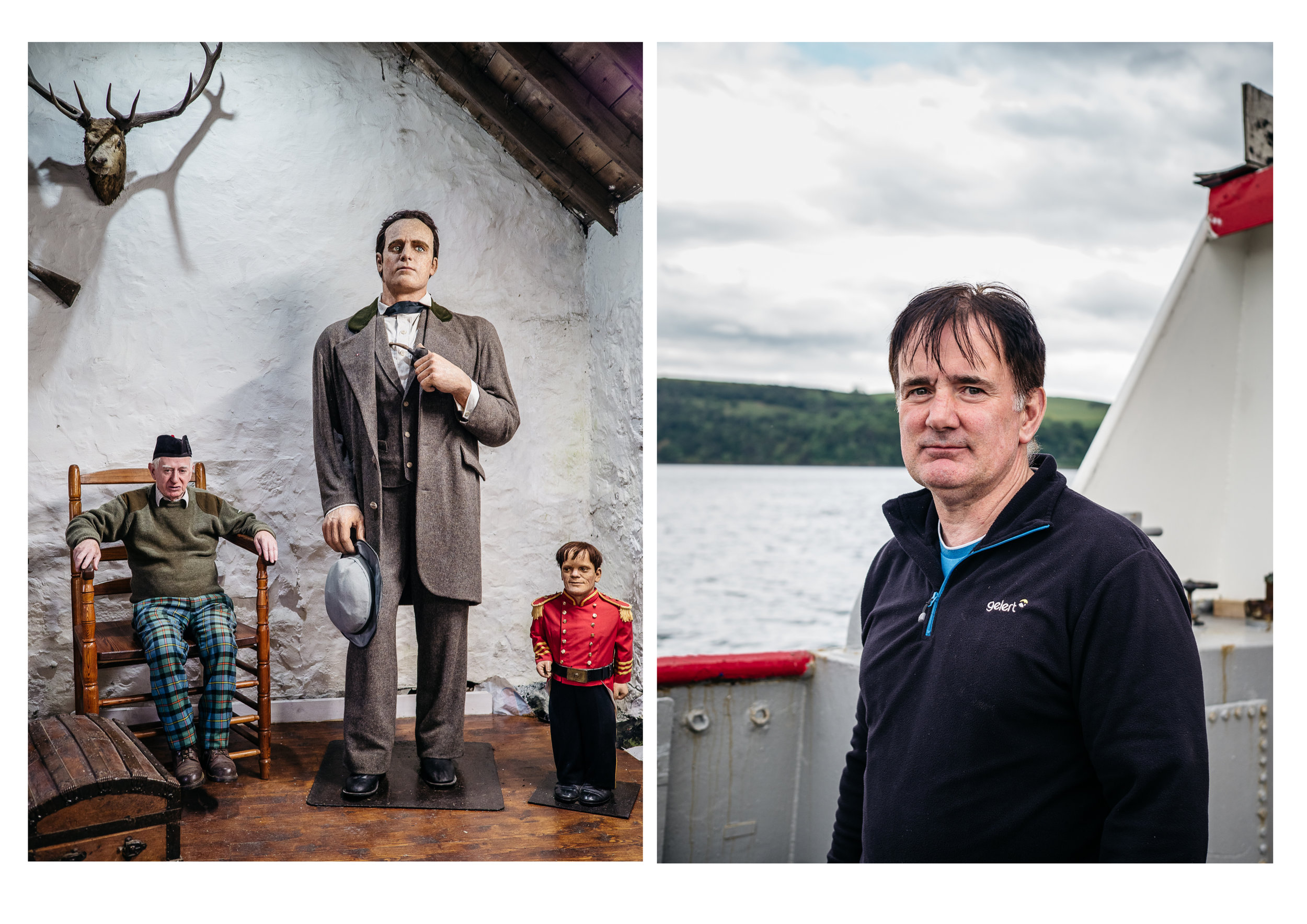 Peter MacAskill in Angus's Chair (left). Cromarty ferry boat man name unknown (right)