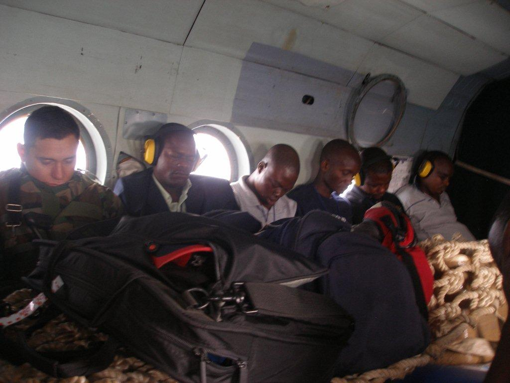 During the helicopter ride from Kindu to Kasongo