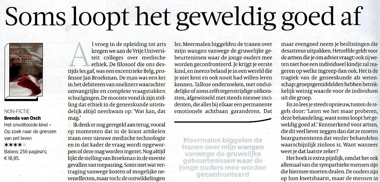 Recensie d e Volkskrant  31-01-15 door Bram Bakker