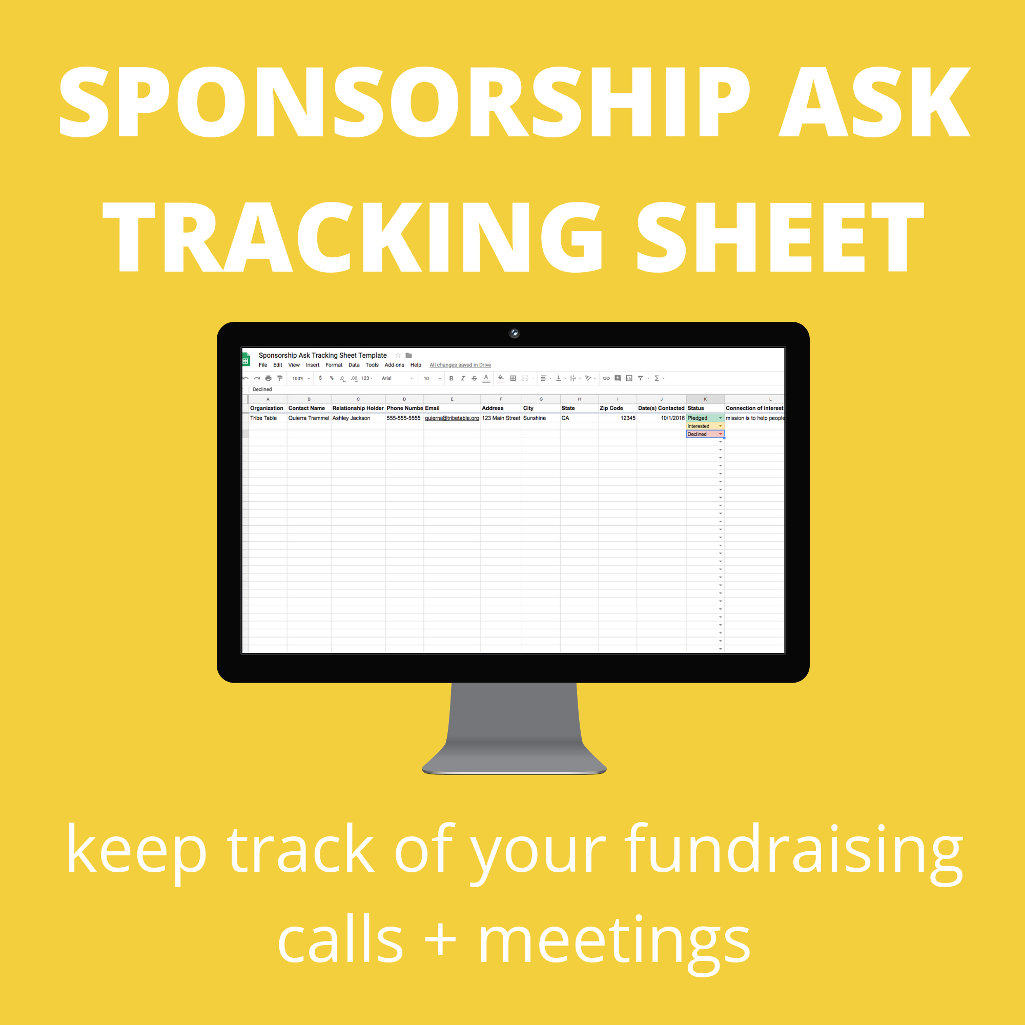 sponsorship ask tracking sheet