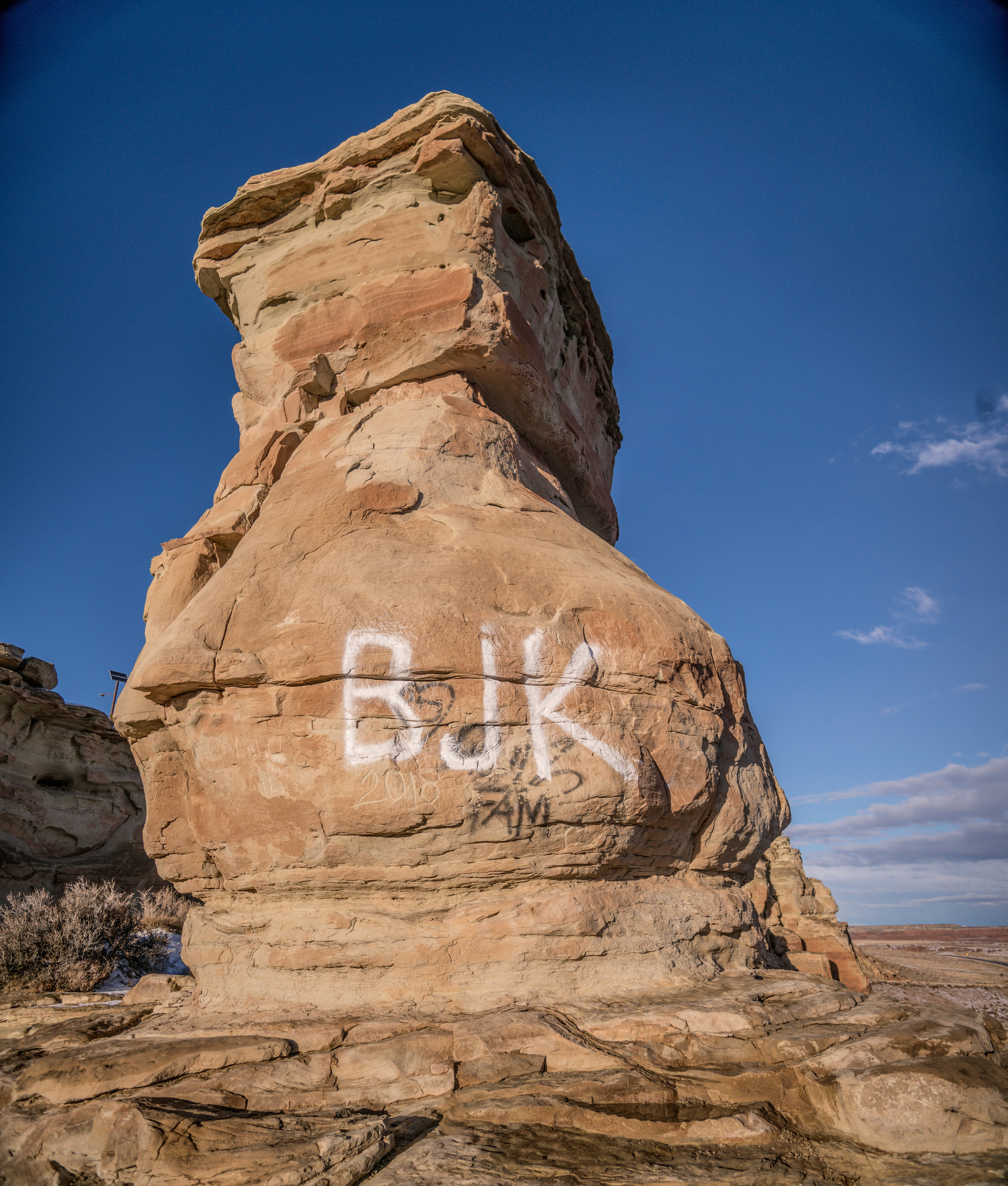 Graffiti is routine and happens often. This photo was taken January, 19th. Notice 2018 already carved into the formation.