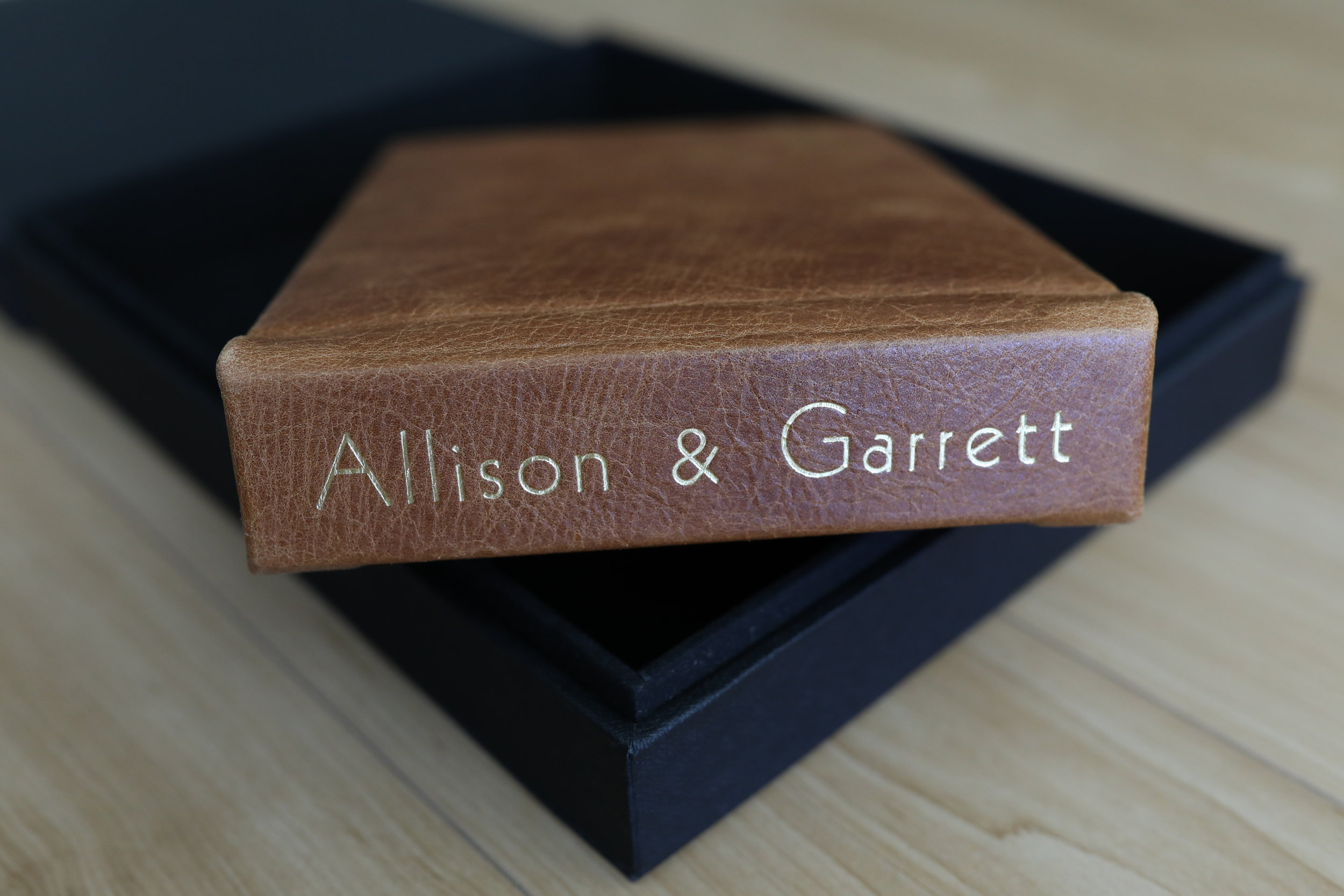 Leather Cover in Gramercy English Brown with Spine Imprint in Gold