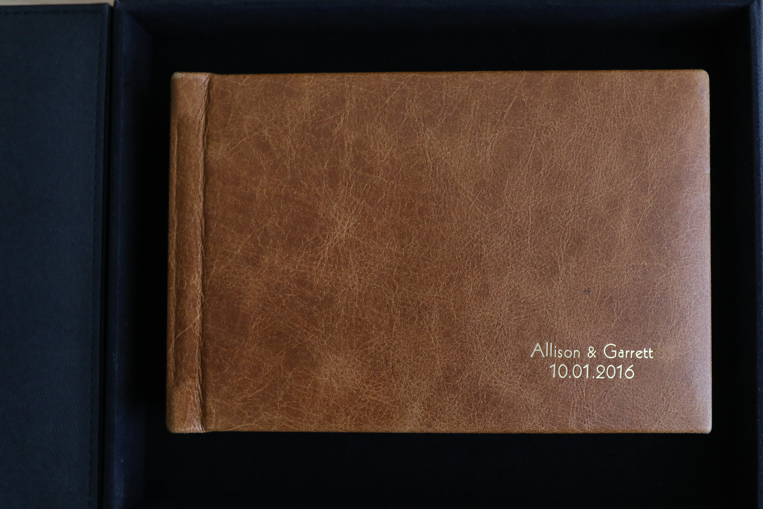 Leather Cover in Gramercy English Brown with Gold Imprint
