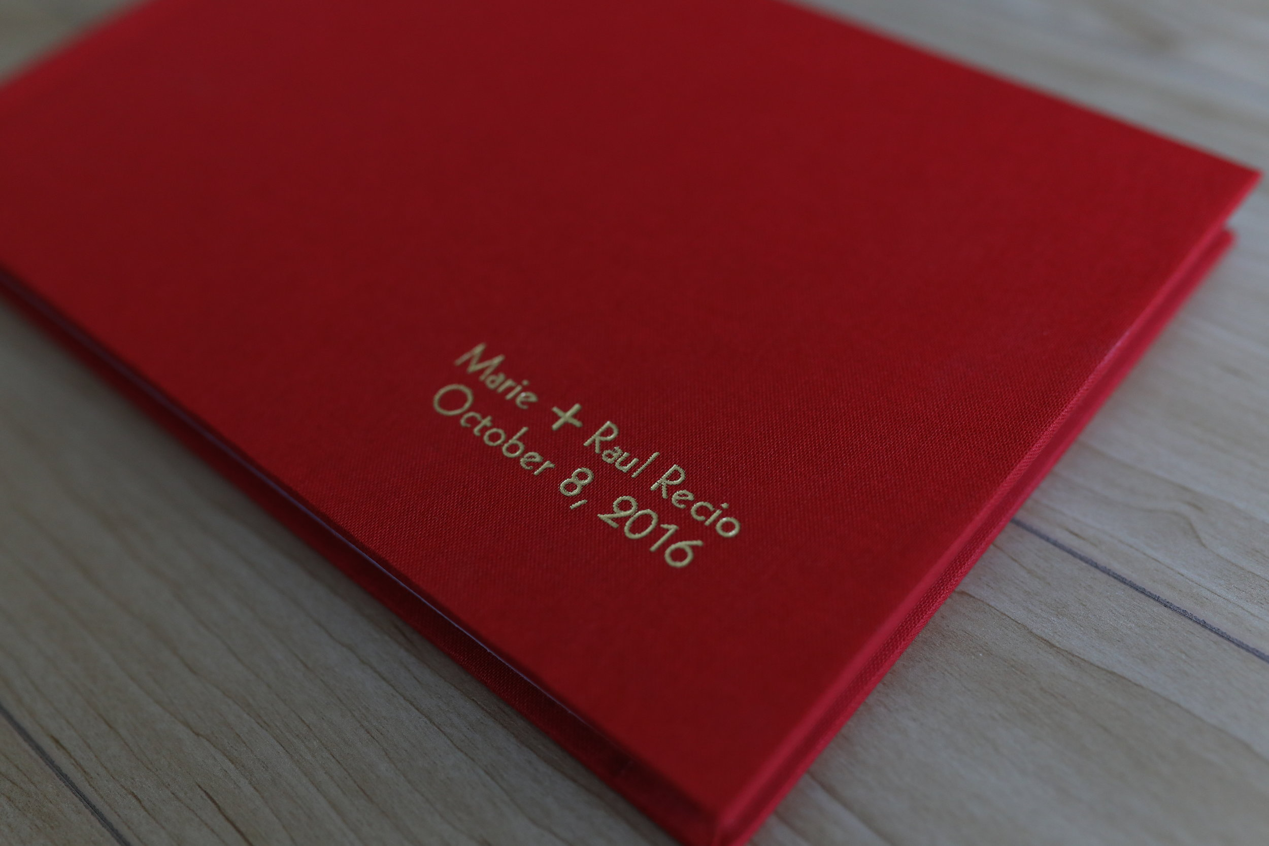 Linen Cover in Crimson with Gold Imprint
