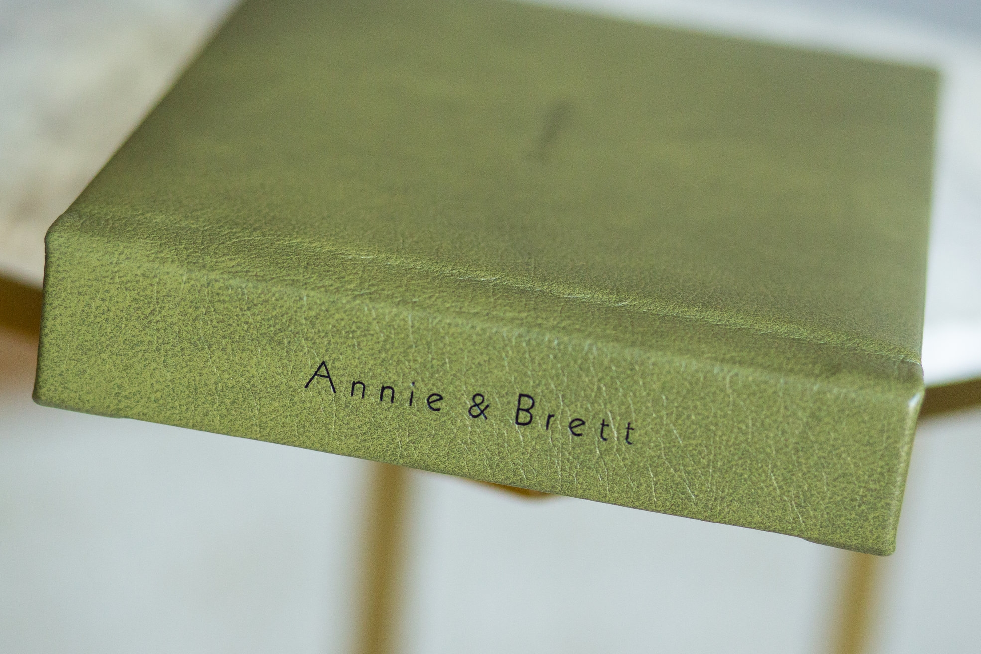 Grammercy Leather in Olive with Black Imprint