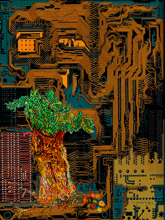 Motherboard, Production of Nature , 2015 Digital Rendering Light Box 24 1/2 x 32 in.