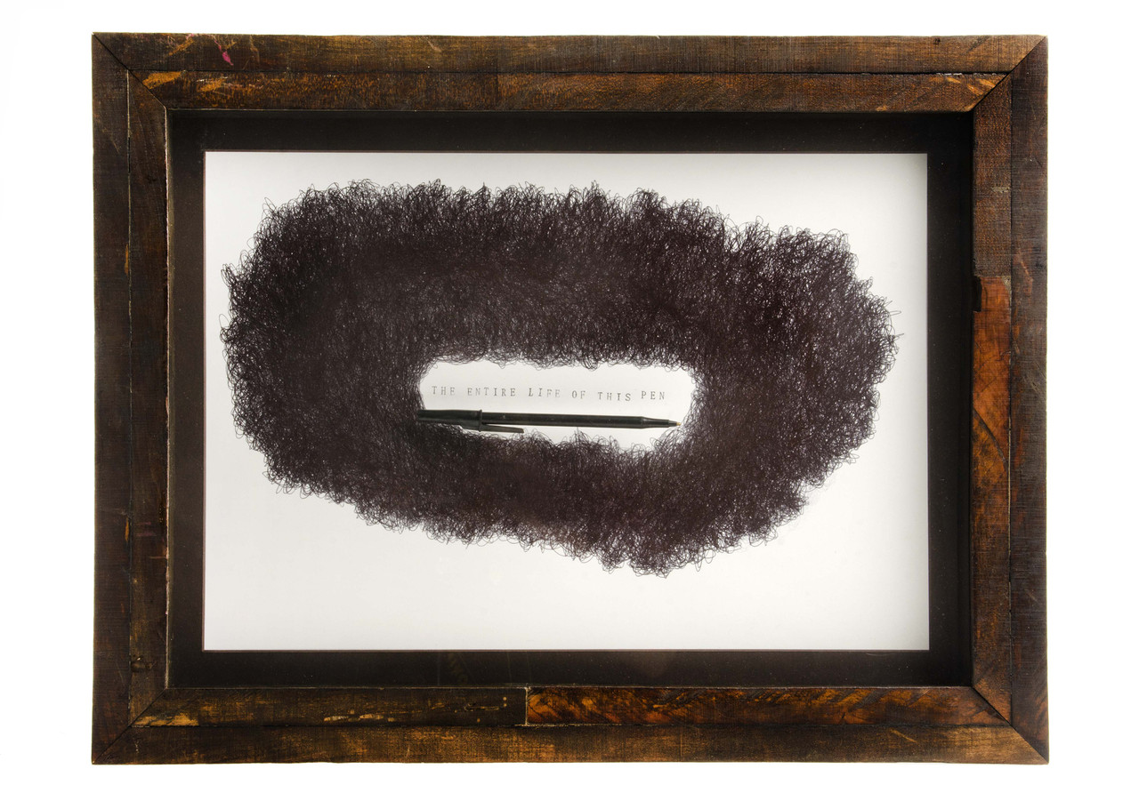 The Entire Life of This Pen, 2013 Ink on Paper, Pen, Handmade Frame 16.5 x 22 x 2in.