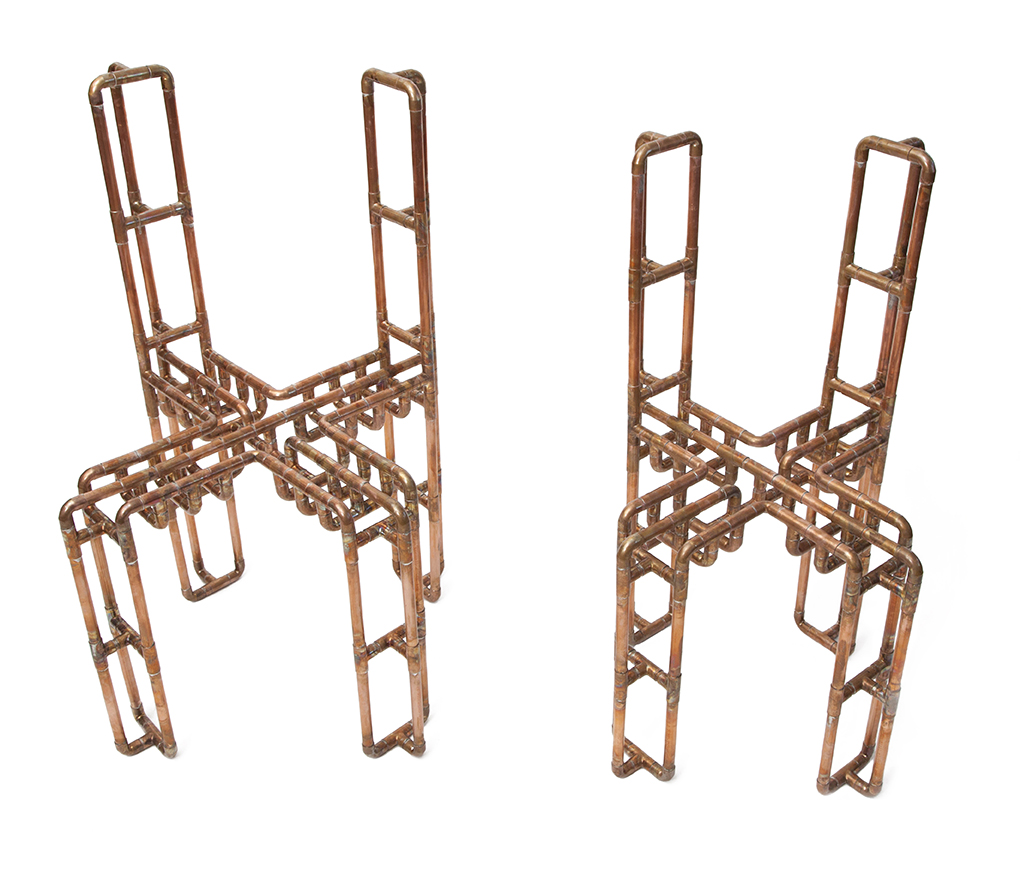 XX & YY Chairs,  2014 Copper  (XX): 34.25 x 17 x 17 in. seat 17.5 in.  (YY): 32 x 14 x 14 in. seat 16.5 in.